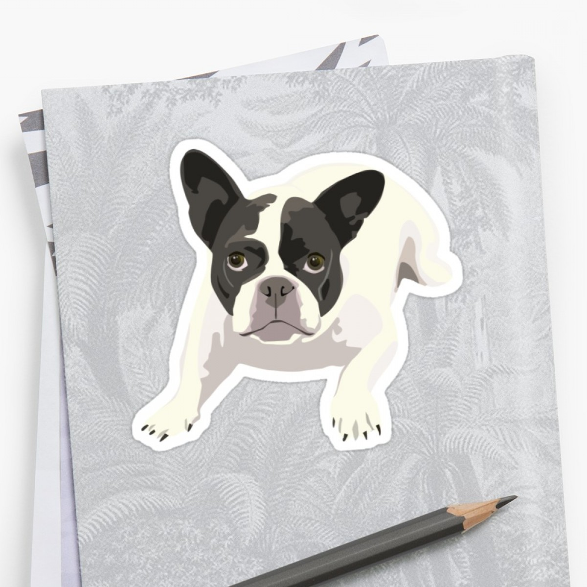 Bulldog Vector Art: Black And White French Bulldog Vector Art Portrait
