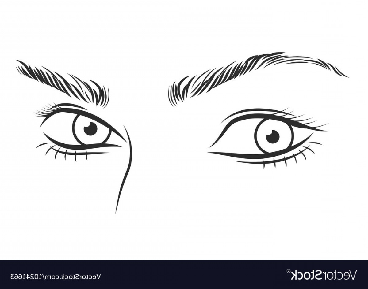 Girl Face Vector Art Black And White: Black And White Girl Face Outline With Blue Eyes Vector