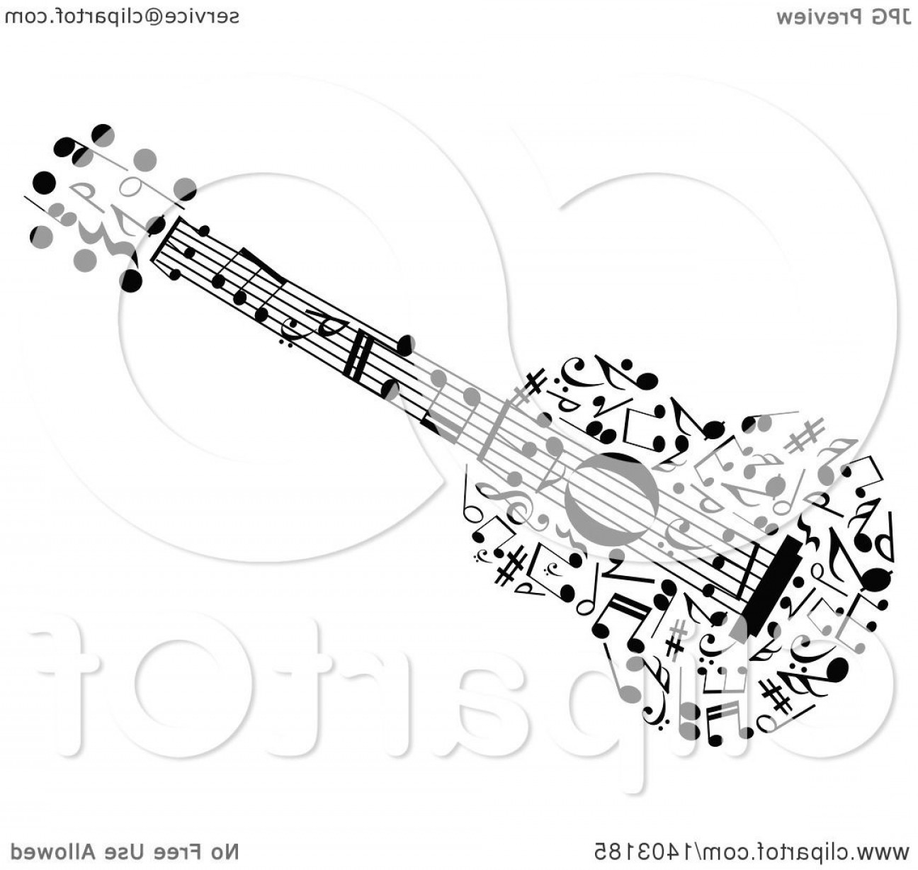 Vector Guitar Clip Art Black And White: Black And White Guitar Made Of Music Notes