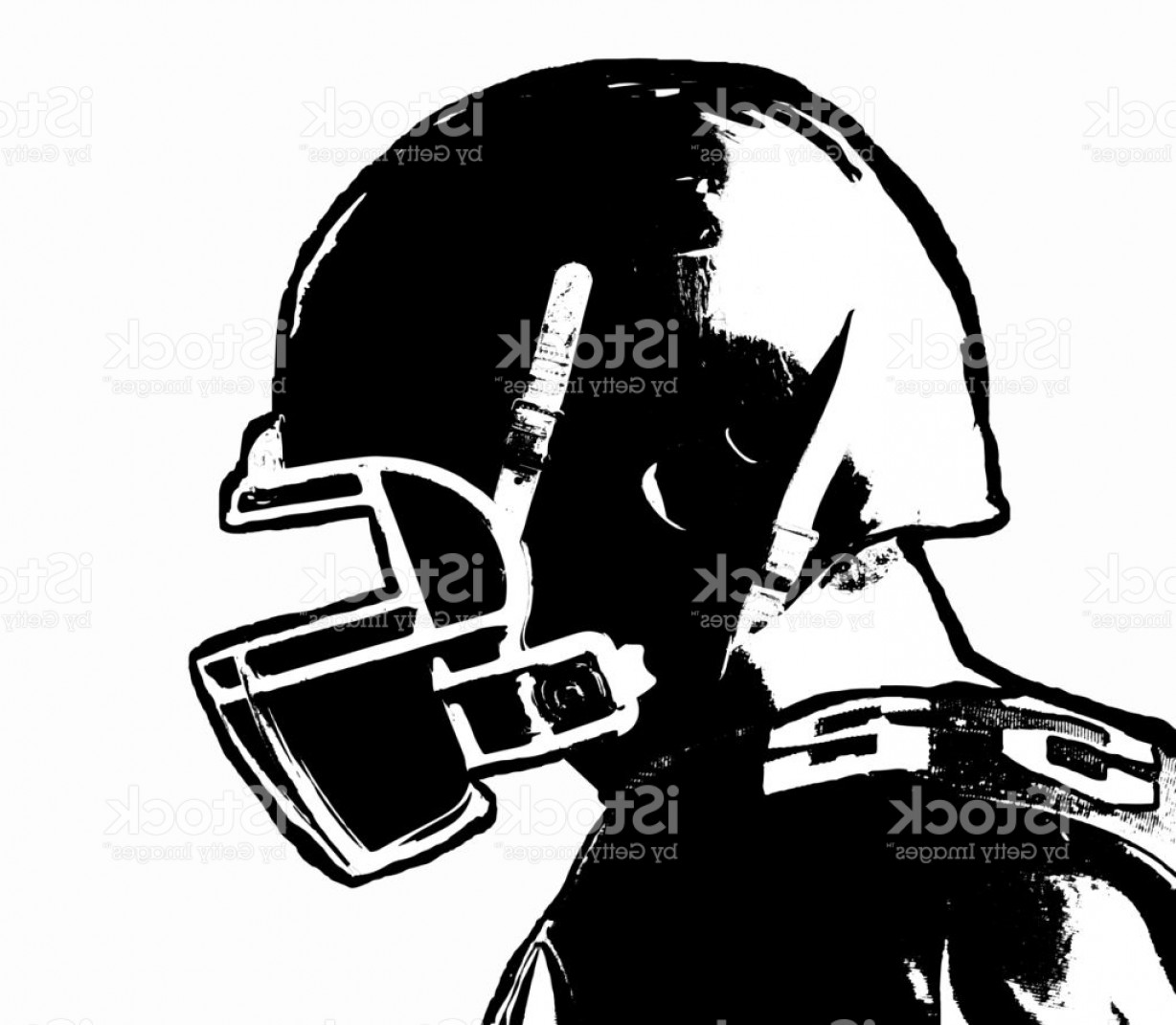 Boba Fett Vector Black And White: Black And White Hand Drawn American Football Player On White Background Gm