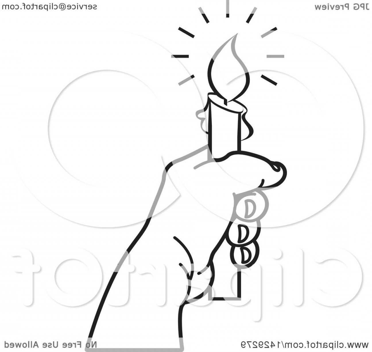 Candle Vector Black: Black And White Hand Holding A Candle