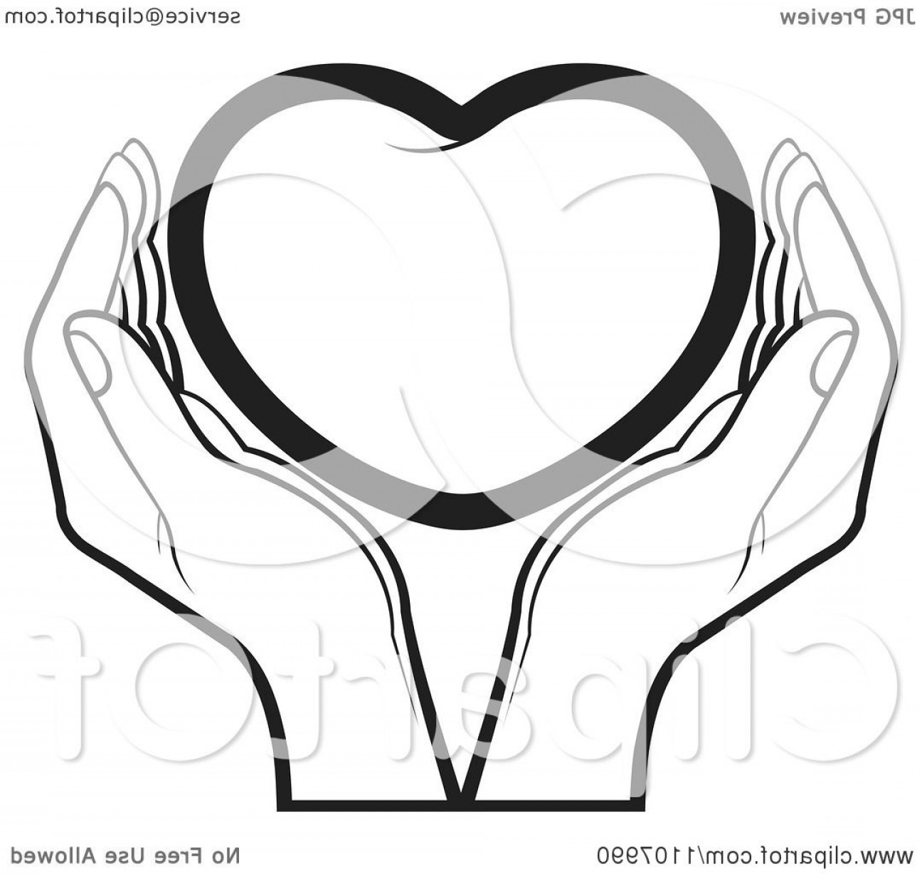 Heart In Hand Vector Clip Art: Black And White Hands Holding A Heart