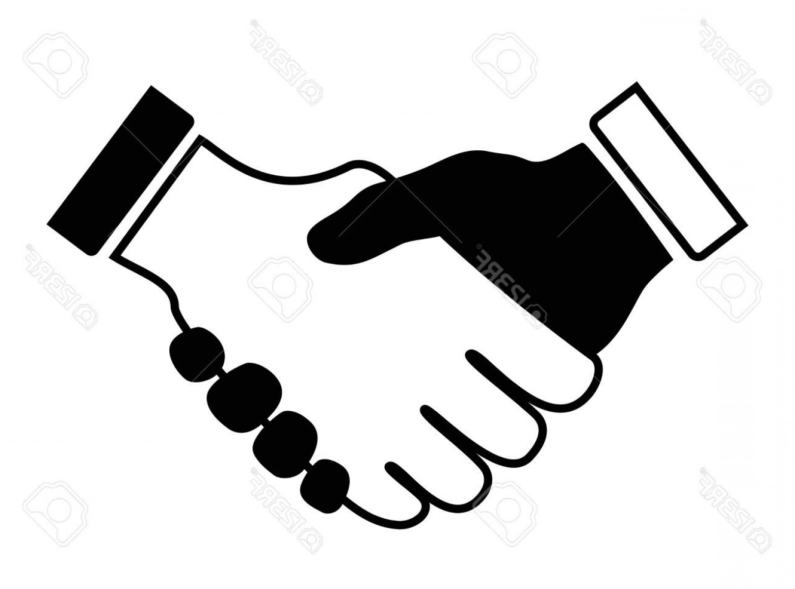 Handshake Clip Art Vector: Black And White Handshake Clipart