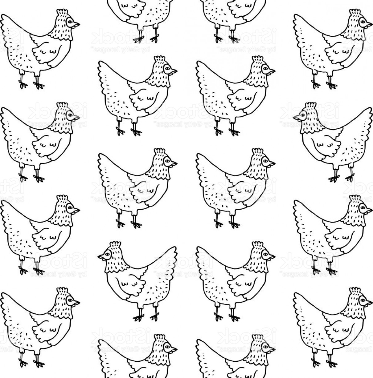 Chicken Vector Black: Black And White Hen Pattern Farm Chicken Vector Isolated Background Gm