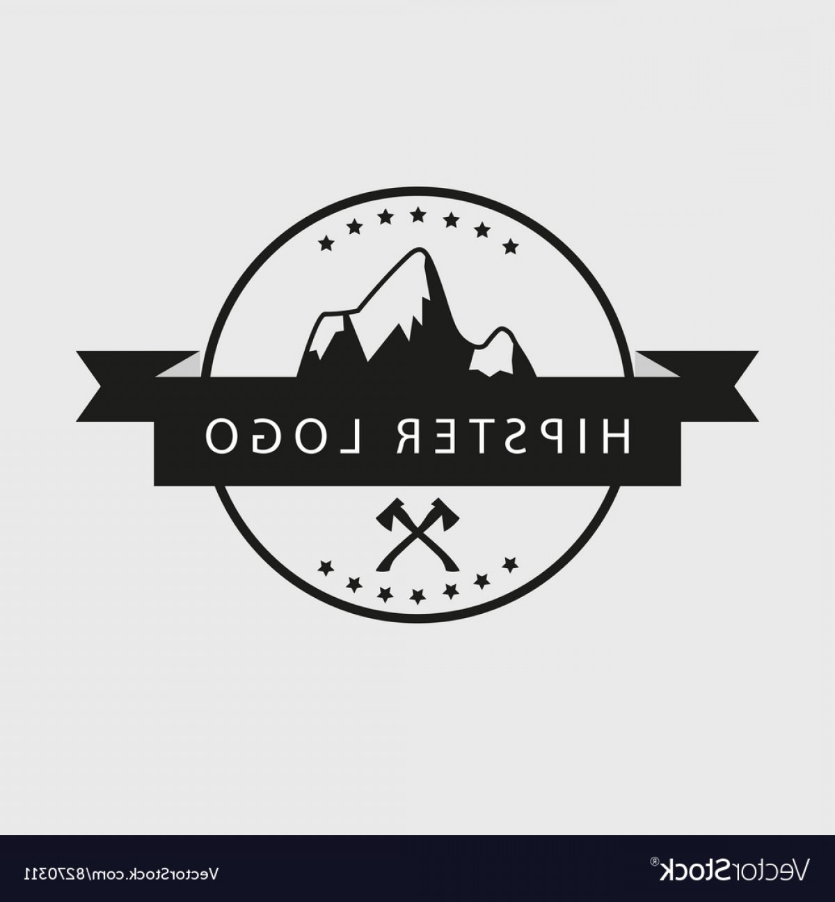 Hipster Logo Vectors Mountain: Black And White Hipster Logotype With Mountains Vector