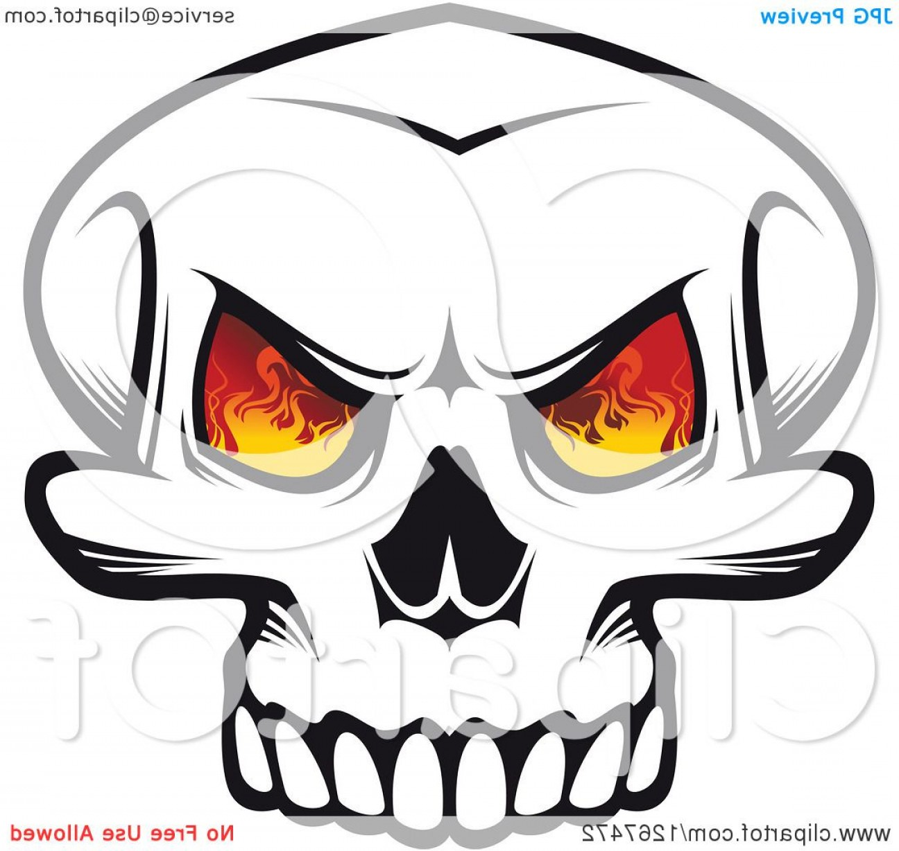 Eye Tribal Skull Vector: Black And White Human Skull With Flames In The Eye Sockets