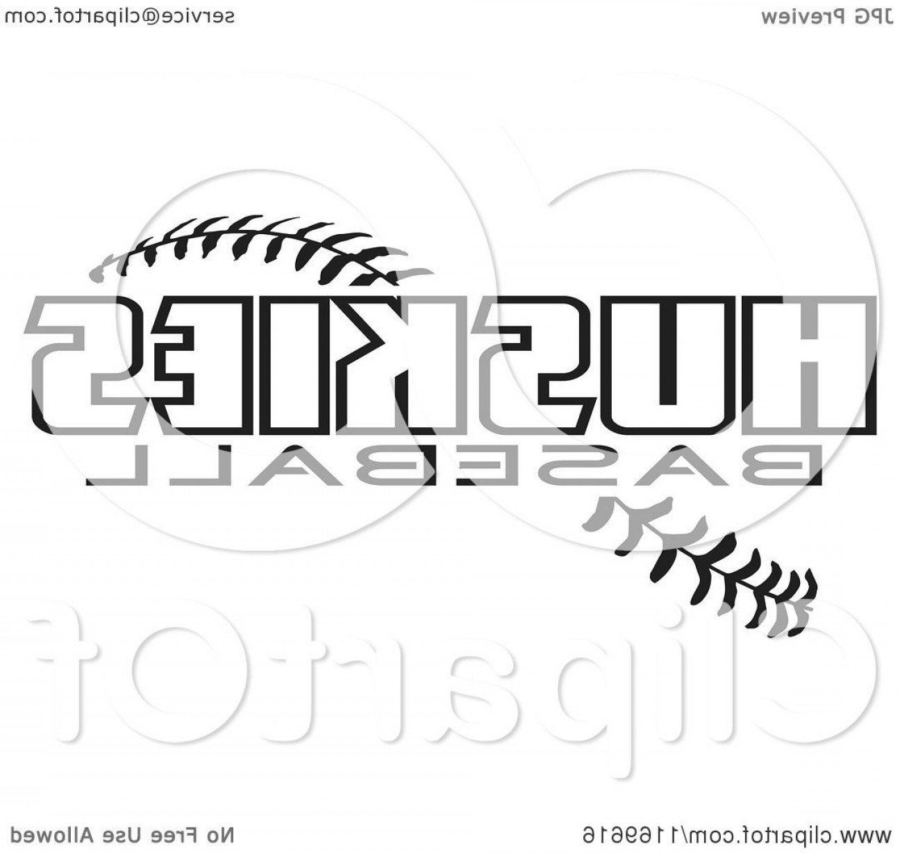 Baseball Tails Vector Clip Arts: Black And White Huskies Baseball Text Over Stitches