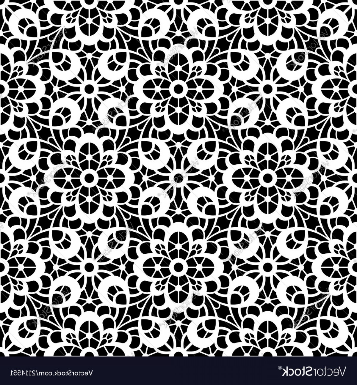 Tulle Black Lace Pattern Vector: Black And White Lace Pattern Vector