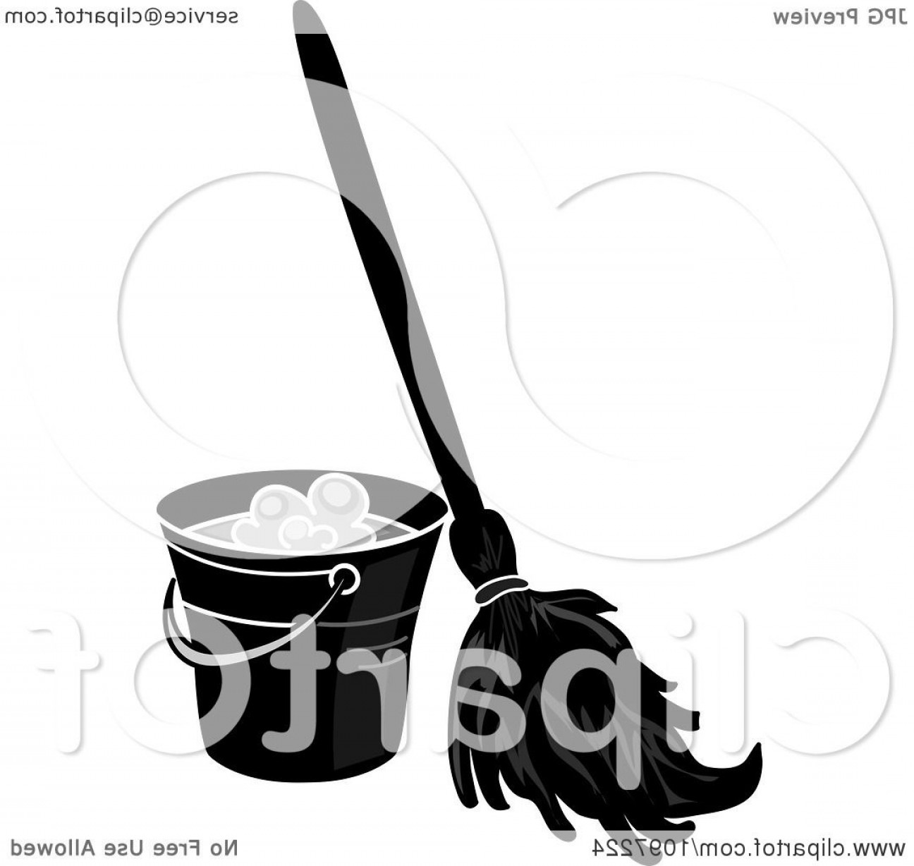 Vector Mop Flower: Black And White Mop Resting Against A Cleaning Bucket