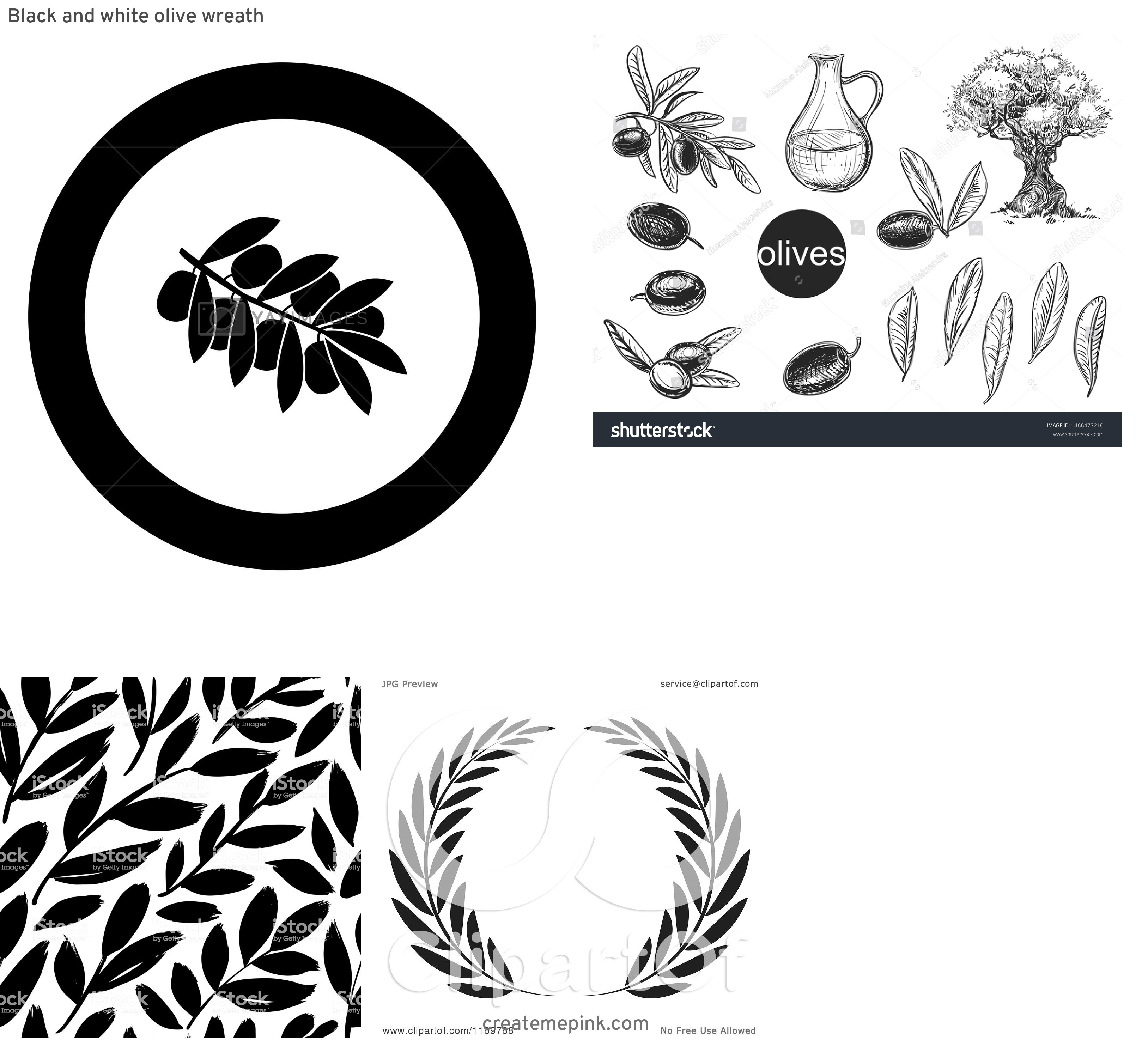 Olive Black And White Vector Leaves: Black And White Olive Wreath