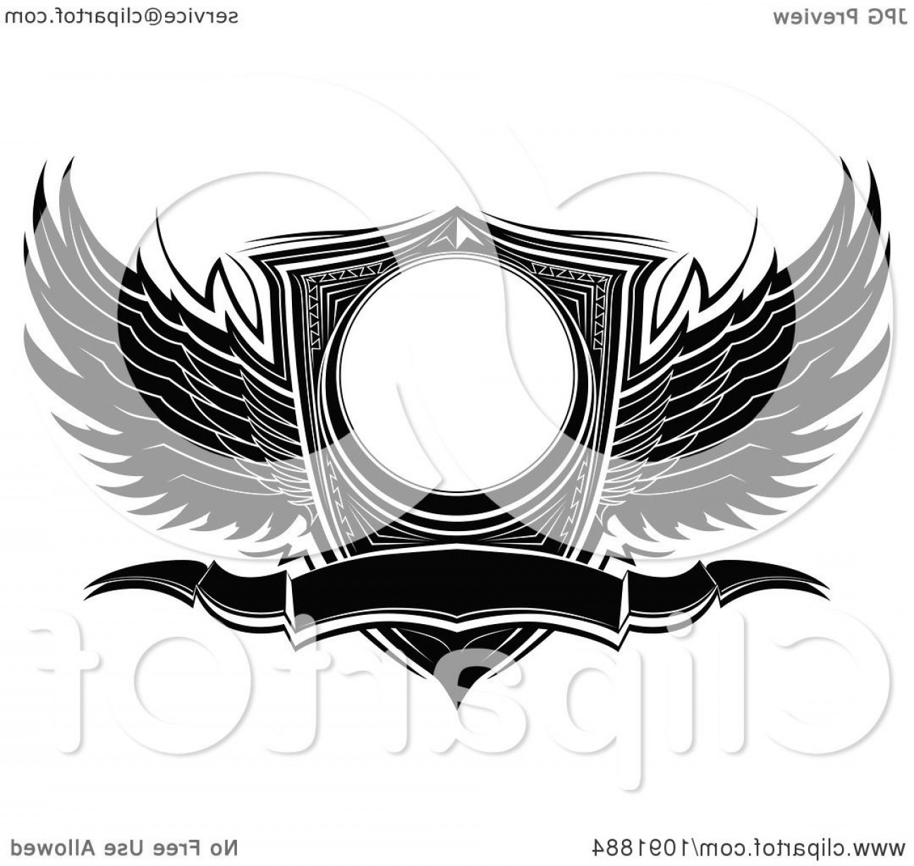 Vector Hi Res Black And White Wing: Black And White Ornate Wings Wwith A Shield And Banner