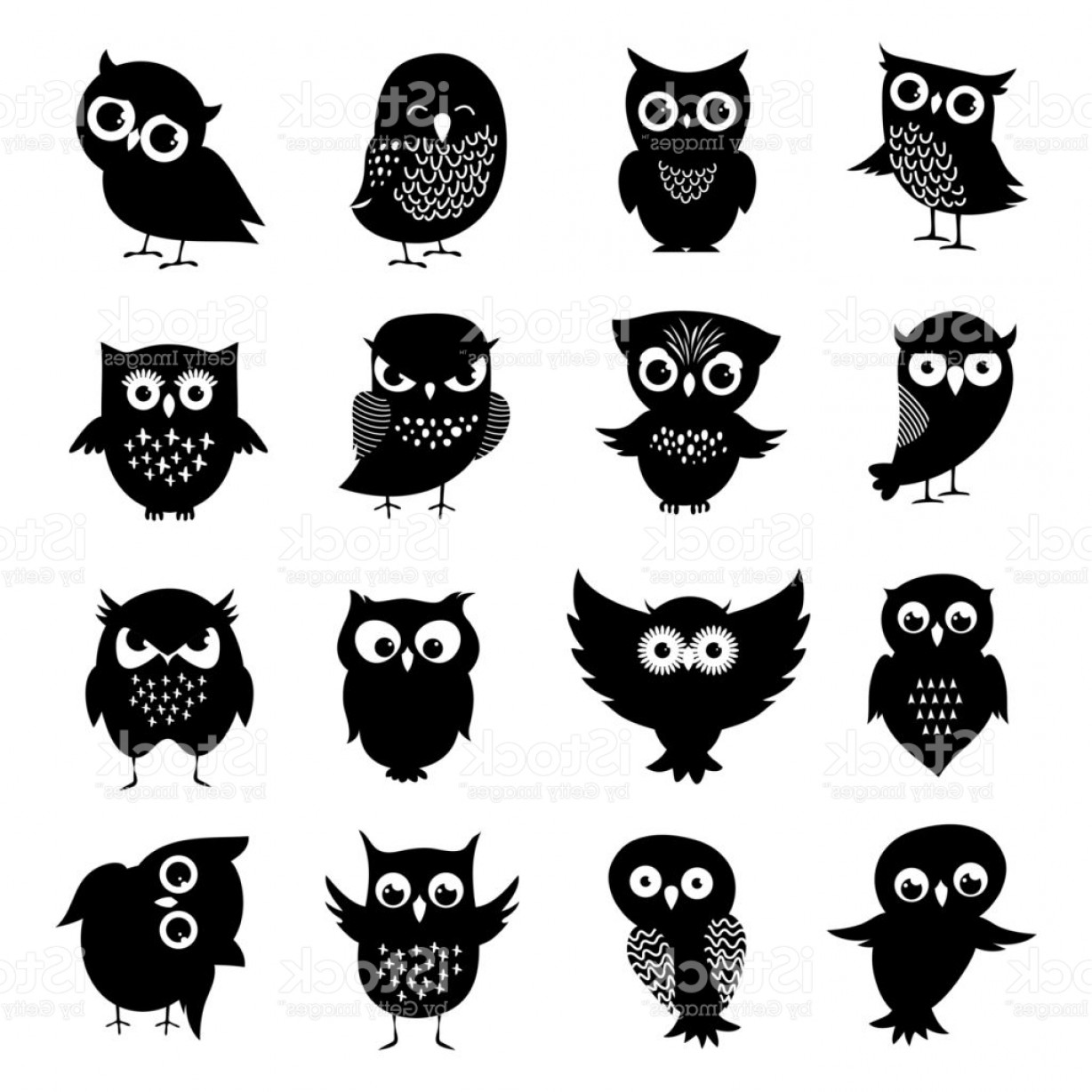 Owl Silhouette Vector Art: Black And White Owl Silhouettes Set Gm