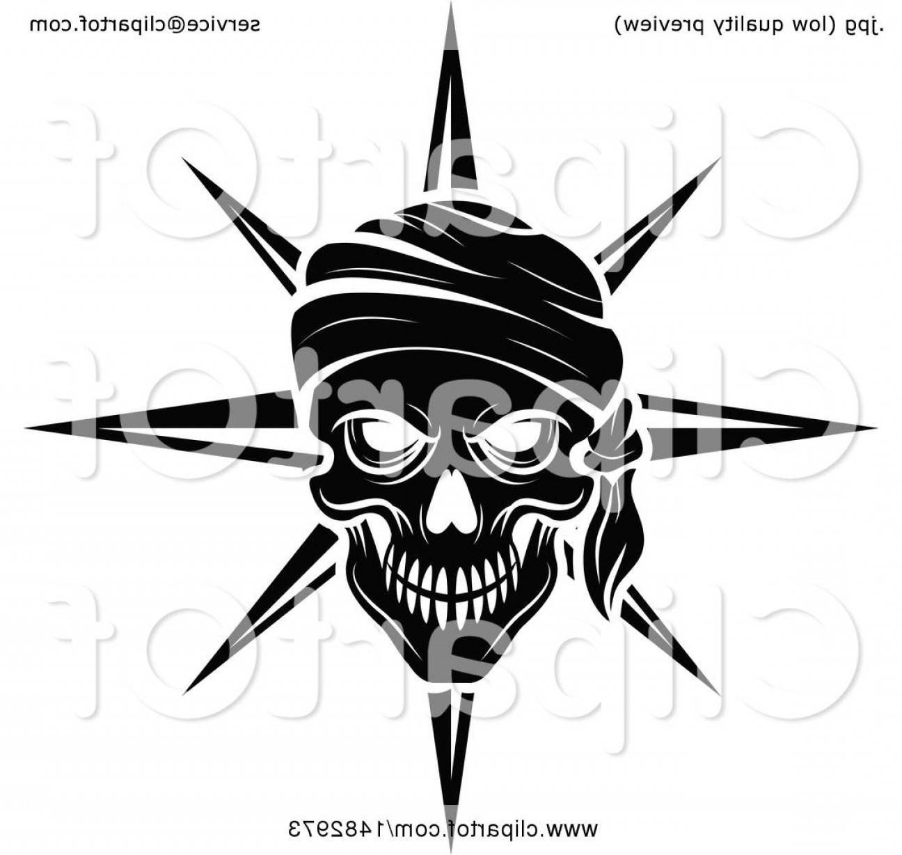 Harley -Davidson Skull Logo Vector: Black And White Pirate Skull And Compass Star