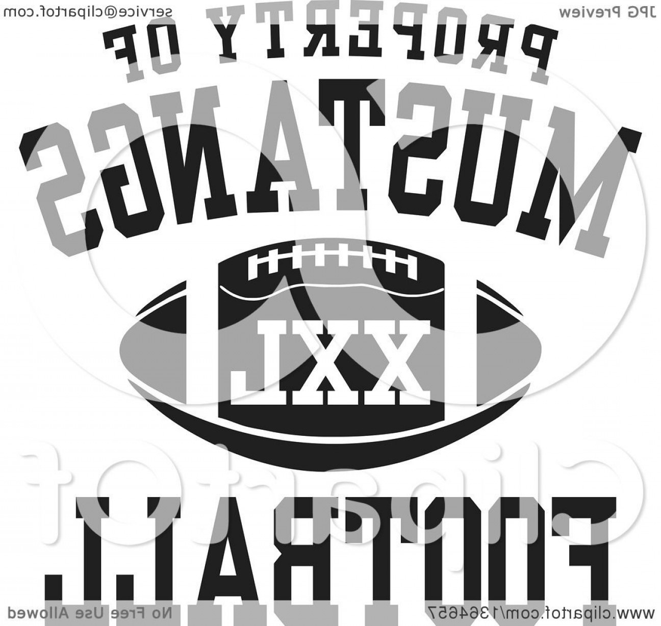 Distressed Football Helmet Vector: Black And White Property Of Mustangs Football Xxl Design