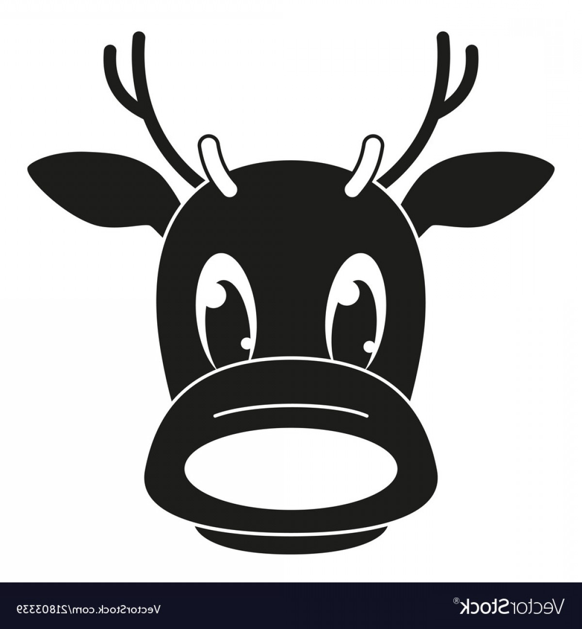 Black And White Holiday Deer Vector: Black And White Reindeer Head Silhouette Vector