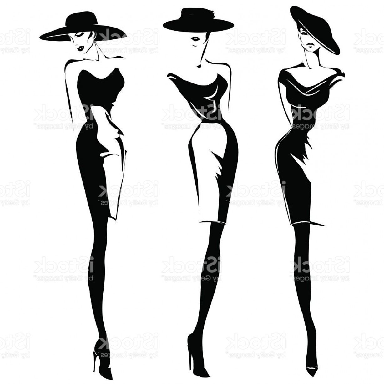 Vector Images Of Black And White Dresses: Black And White Retro Fashion Models Set In Sketch Style Gm