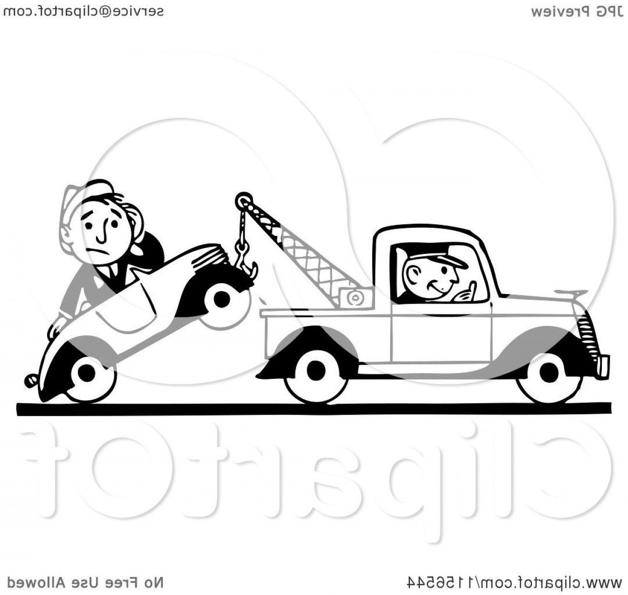 Towing Vector Clip Art: Black And White Retro Tow Truck Driver And Man In A Car