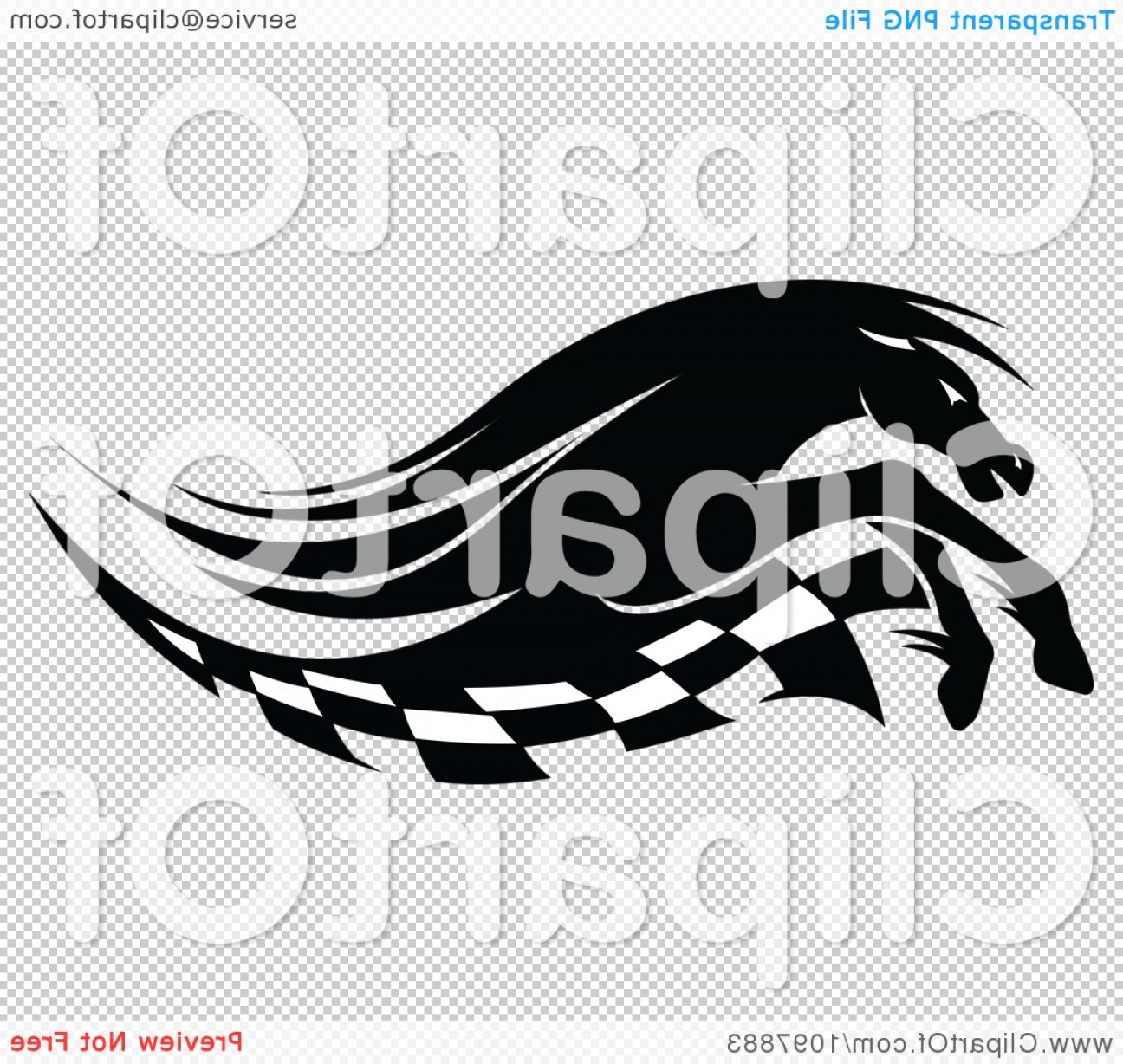 Checkered Flag Background Vector: Black And White Running Race Horse And Checkered Flag