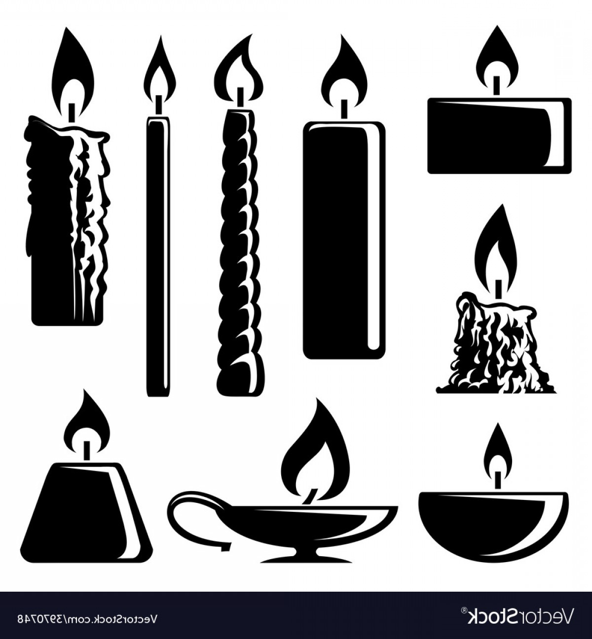 Candle Vector Black: Black And White Silhouette Burning Candles Vector