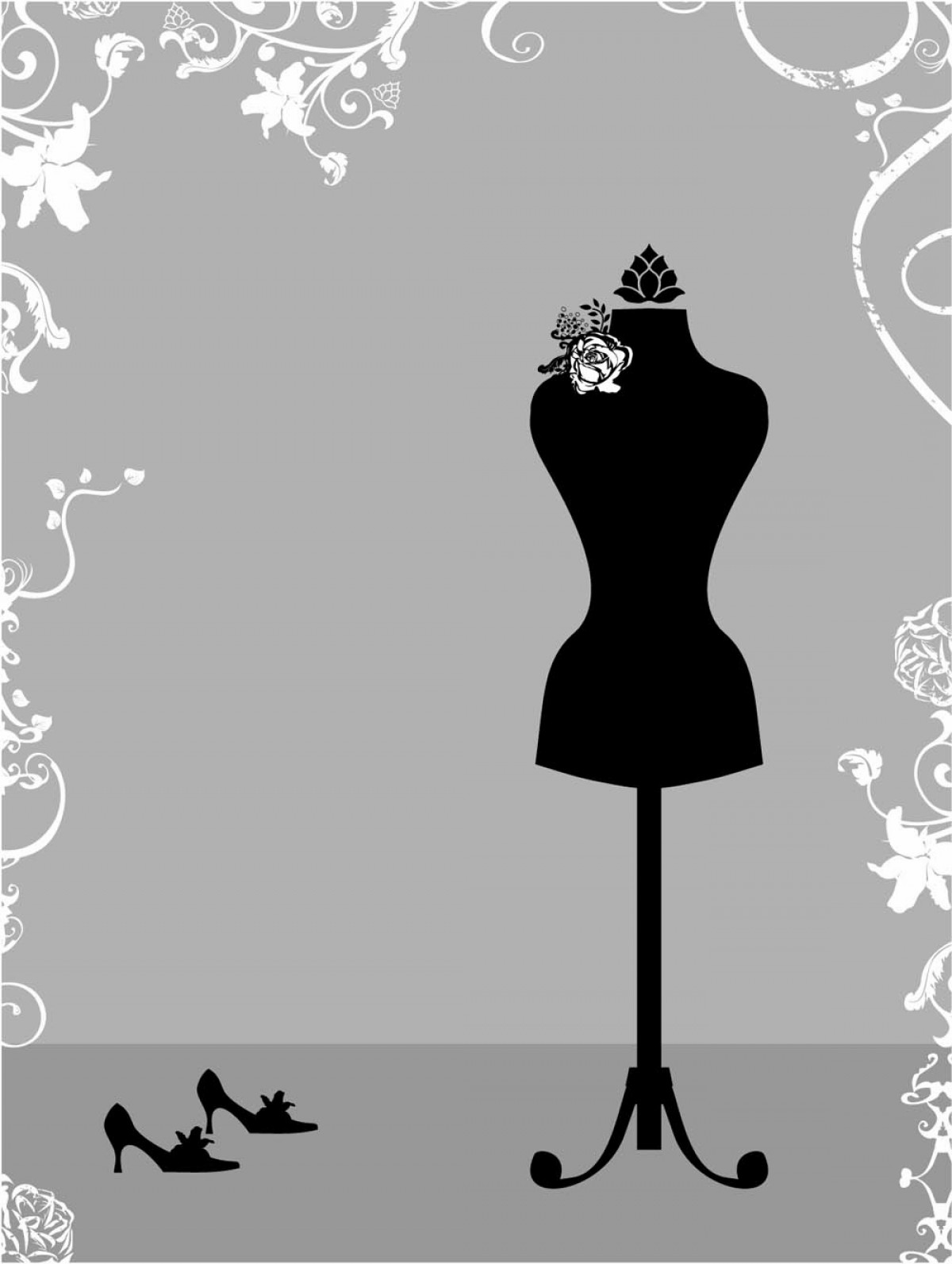Vector Images Of Black And White Dresses: Black And White Silhouette Hanger Model Vector
