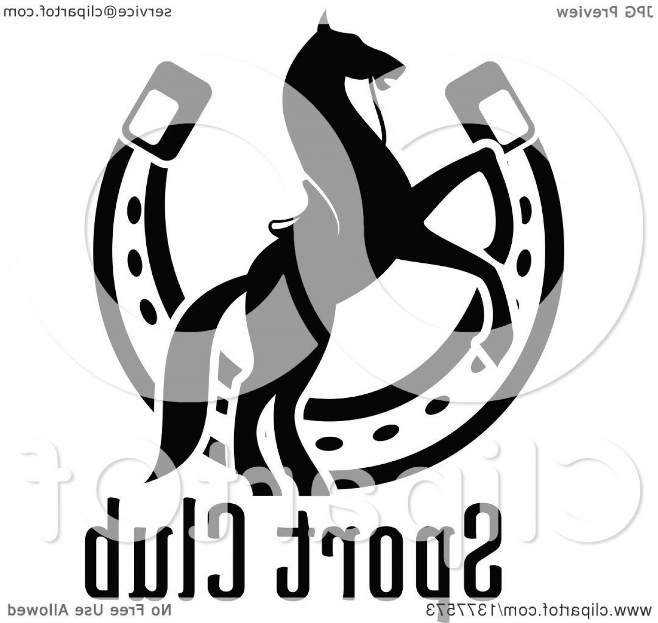 Tribal Vector Horseshoe Image: Black And White Silhouetted Saddled Horse Rearing Over A Horseshoe And Text