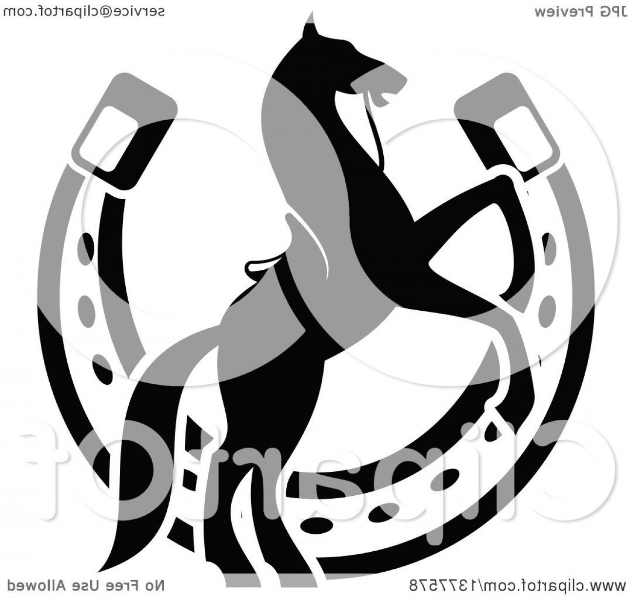 Tribal Vector Horseshoe Image: Black And White Silhouetted Saddled Horse Rearing Over A Horseshoe
