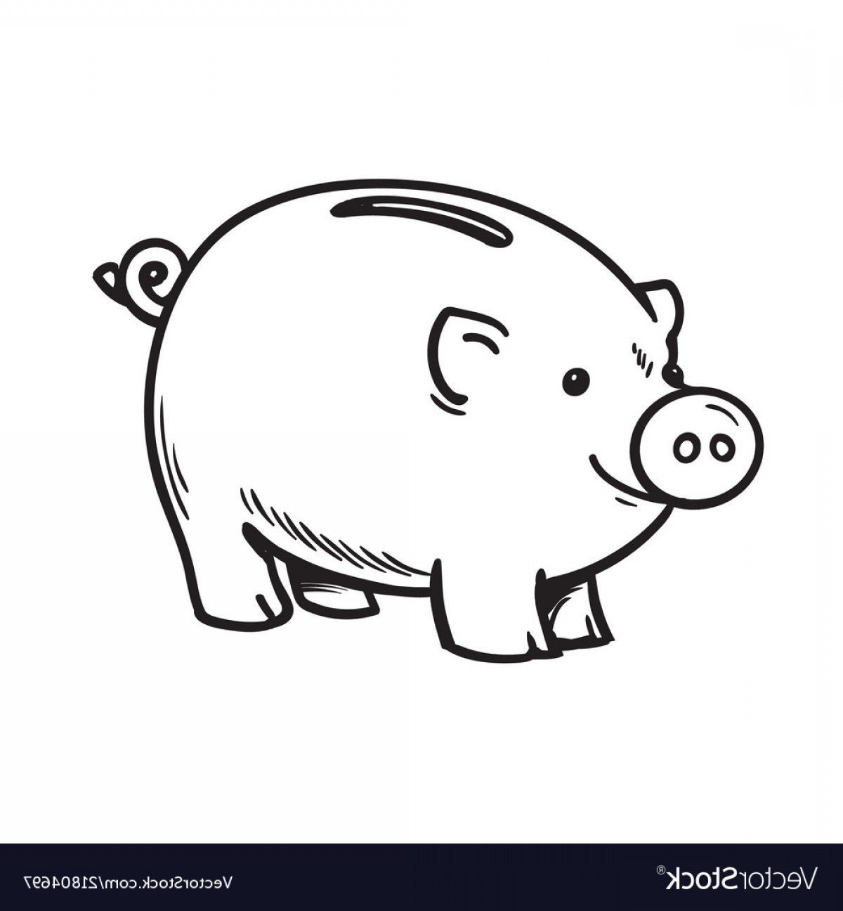 Funny Black And White Vector: Black And White Sketch Of Funny Piggy Bank Vector