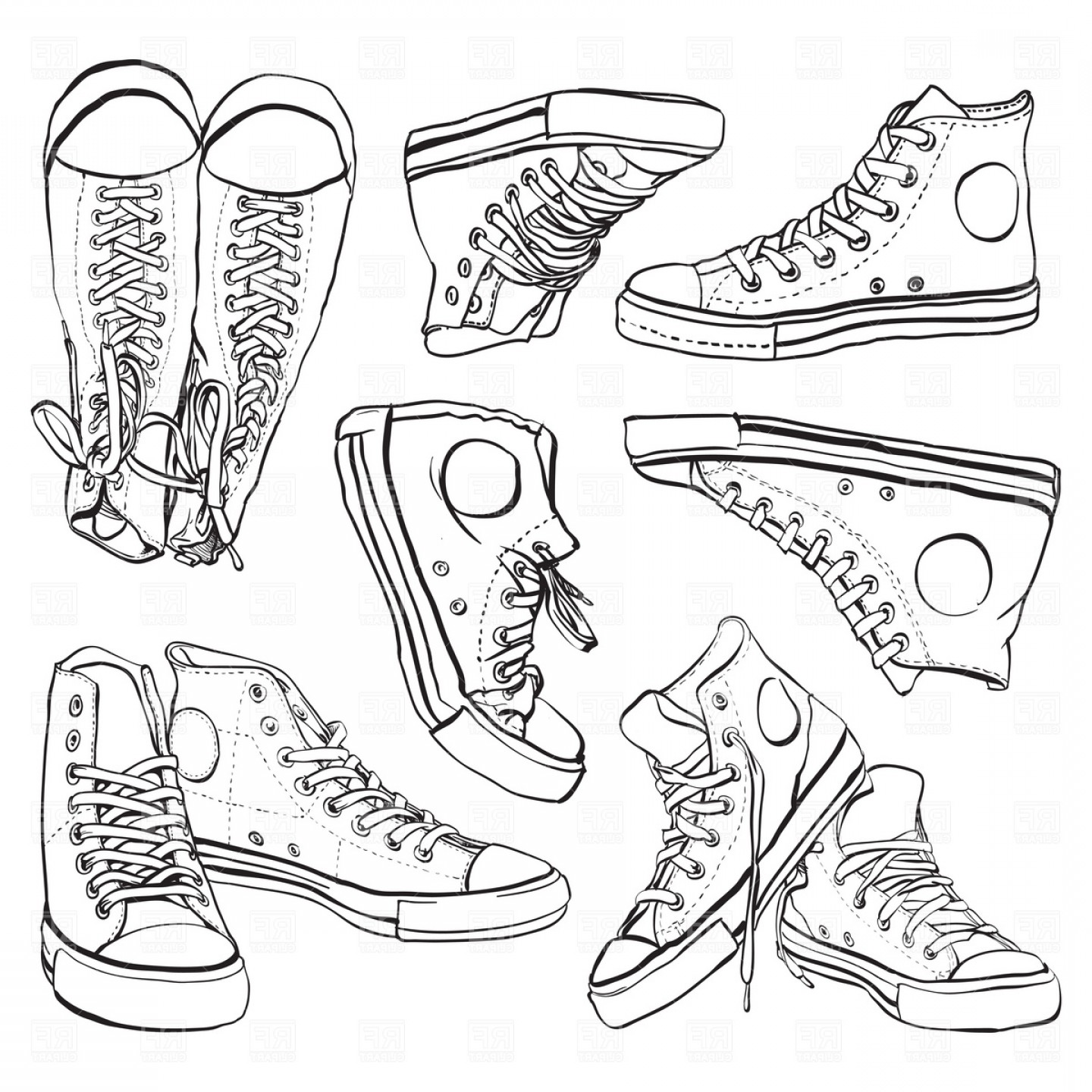 Sneaker Silhouette Vector: Black And White Sneakers Set Vector Clipart