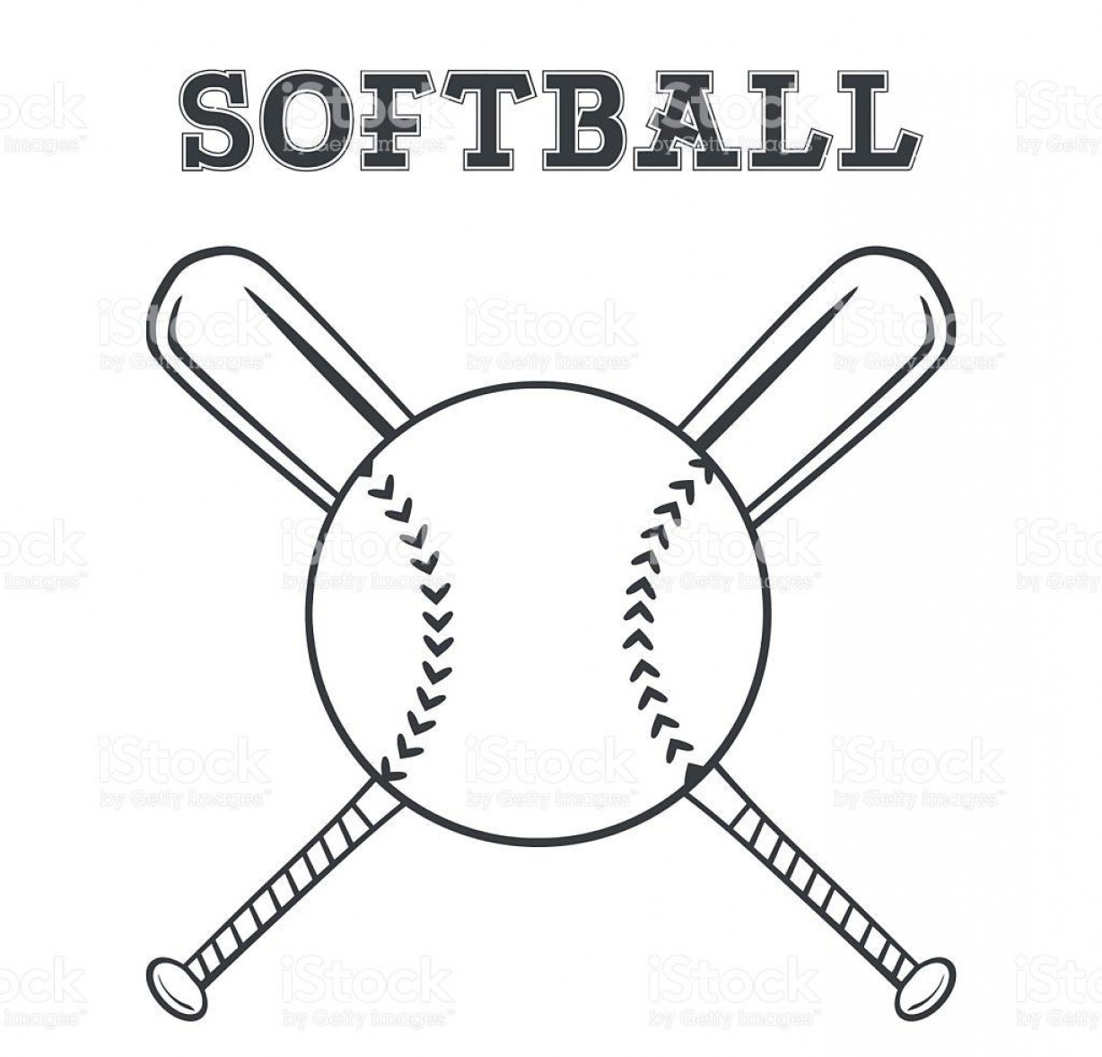 Softball Laces Vector Art B W: Black And White Softball Over Crossed Bats Logo Vector