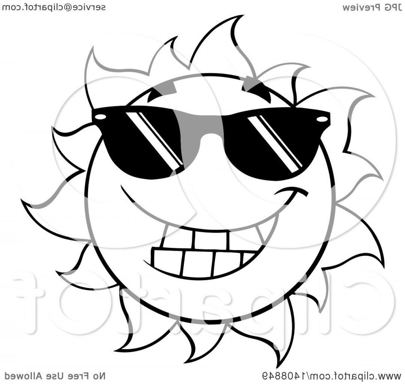 Black Sunglasses Clip Art Vector: Black And White Summer Time Sun Character Mascot Wearing Shades
