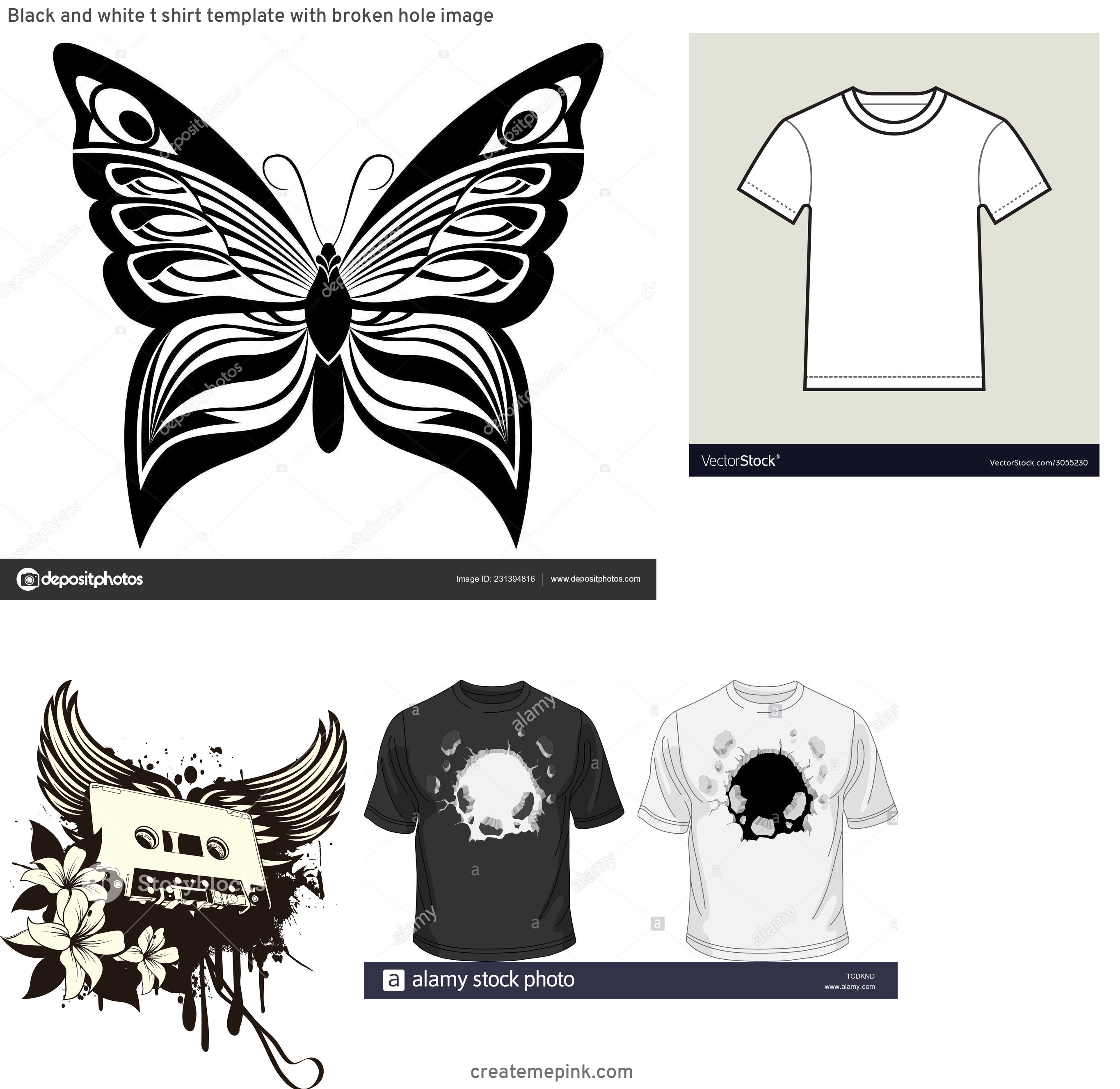 T-Shirt Vector Art: Black And White T Shirt Template With Broken Hole Image