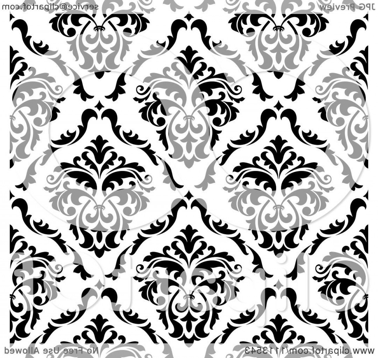 Damask Background Vector Art: Black And White Triangular Damask Pattern Seamless Background