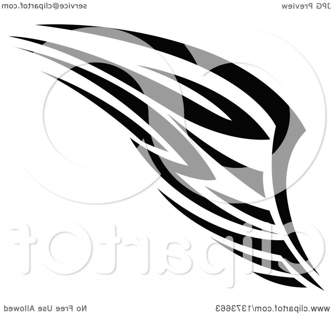 Vector Hi Res Black And White Wing: Black And White Tribal Angel Or Bird Wing