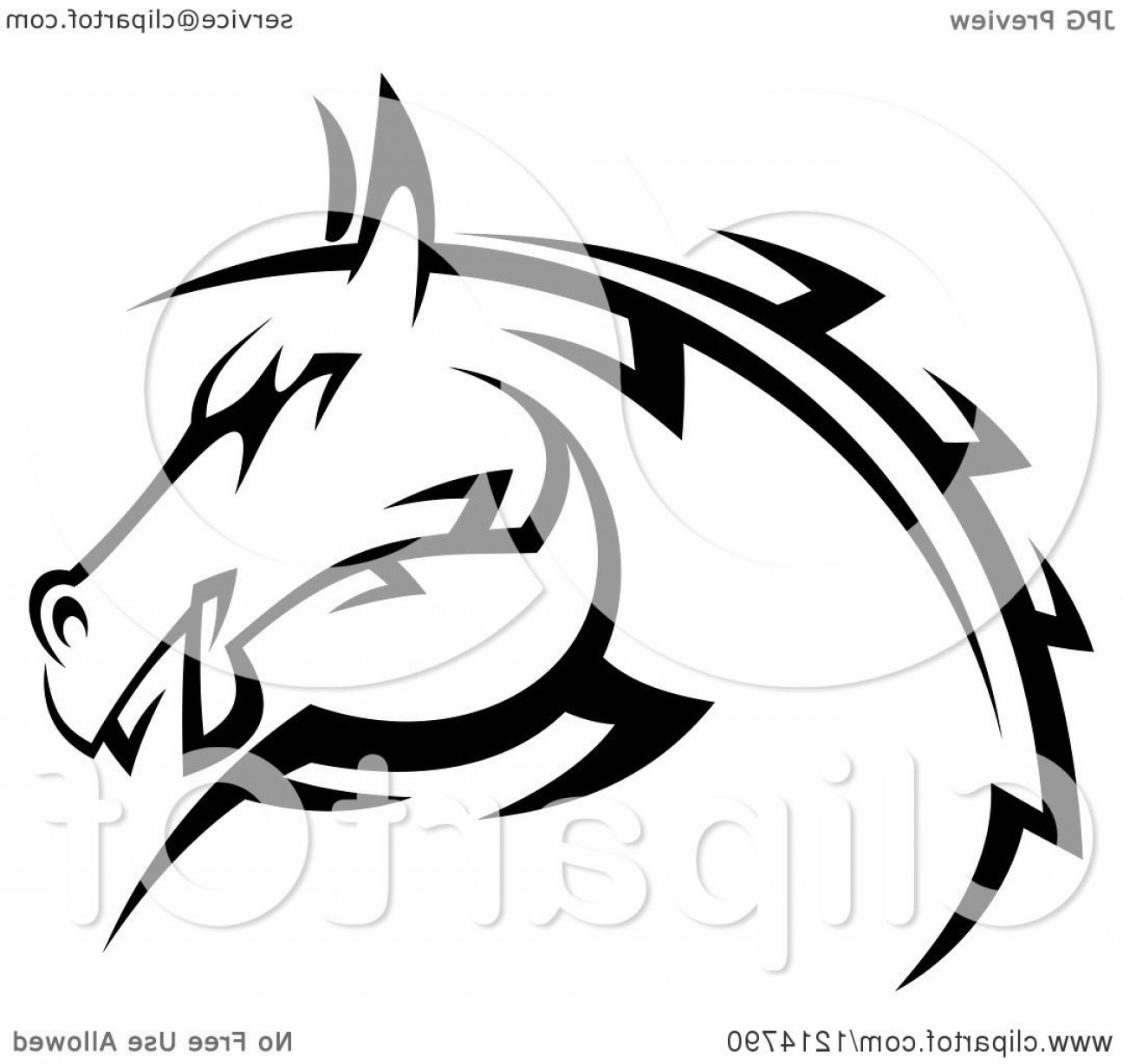 Tribal Vector Horseshoe Image: Black And White Tribal Horse Head