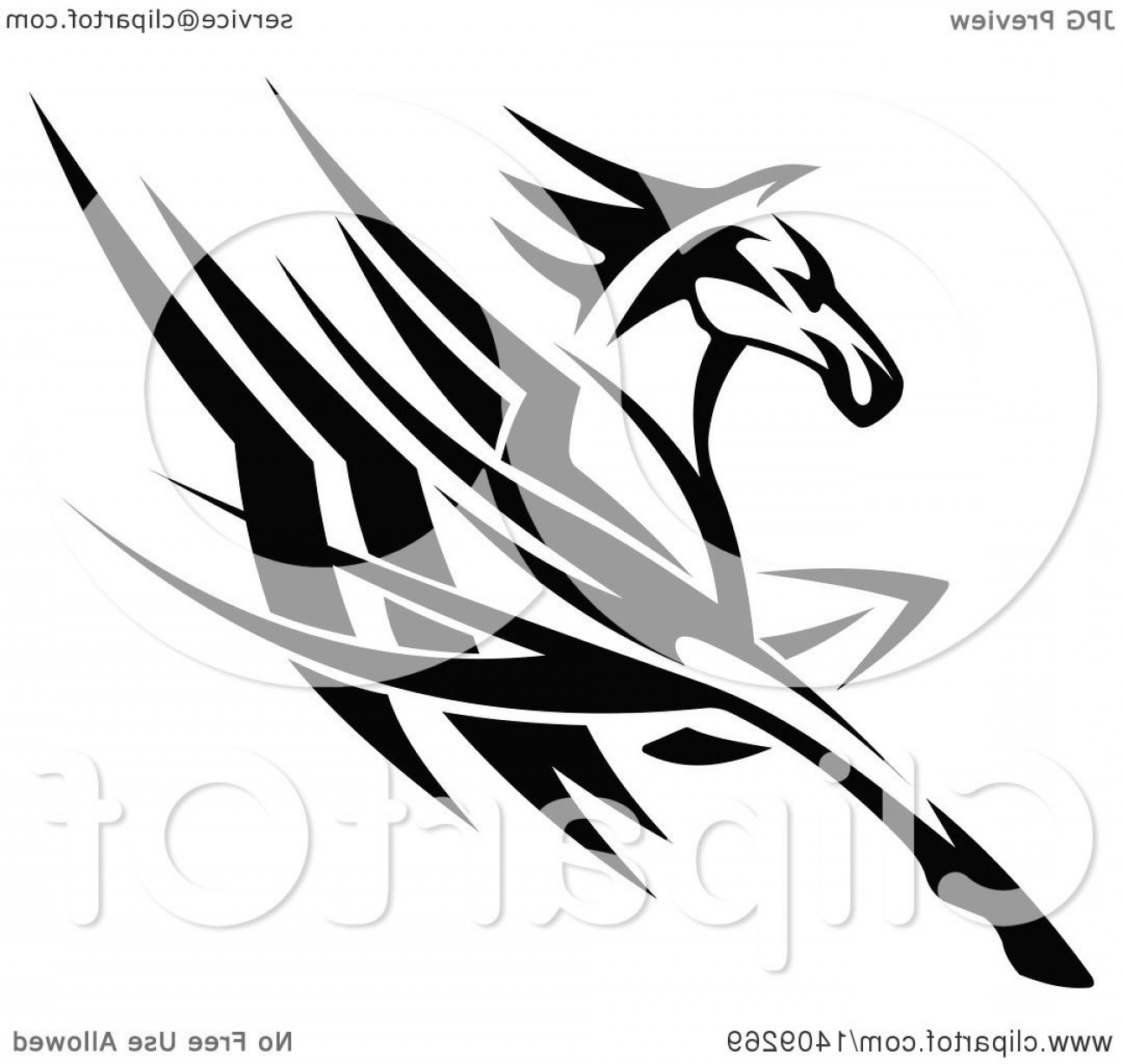 Tribal Vector Horseshoe Image: Black And White Tribal Horse