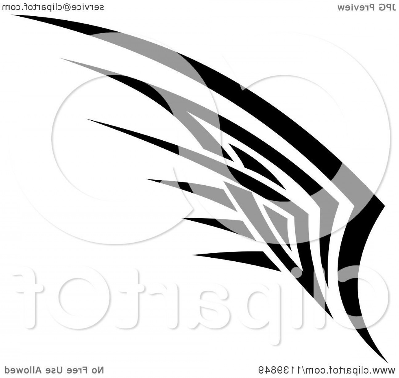 Vector Hi Res Black And White Wing: Black And White Tribal Wing
