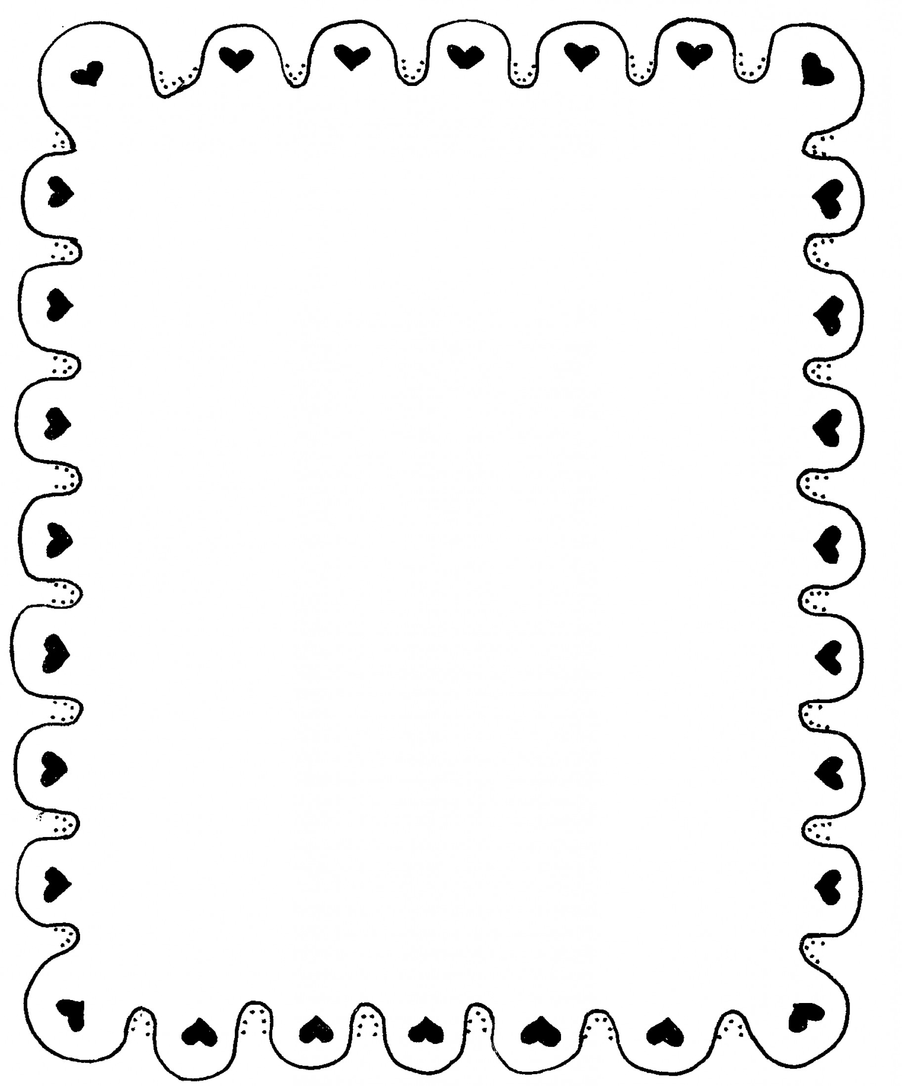Black Scalloped Border Vector: Black And White Valentines Day Clipart Border