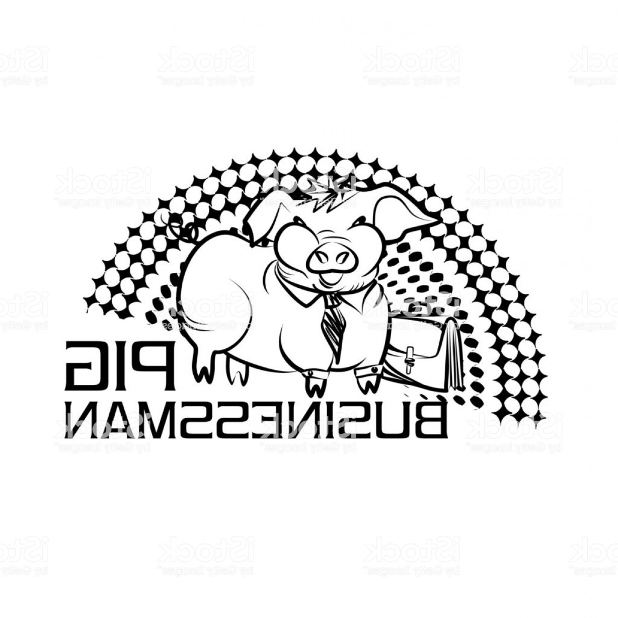 Funny Black And White Vector: Black And White Vector Logo With A Funny Pig Businessman Gm