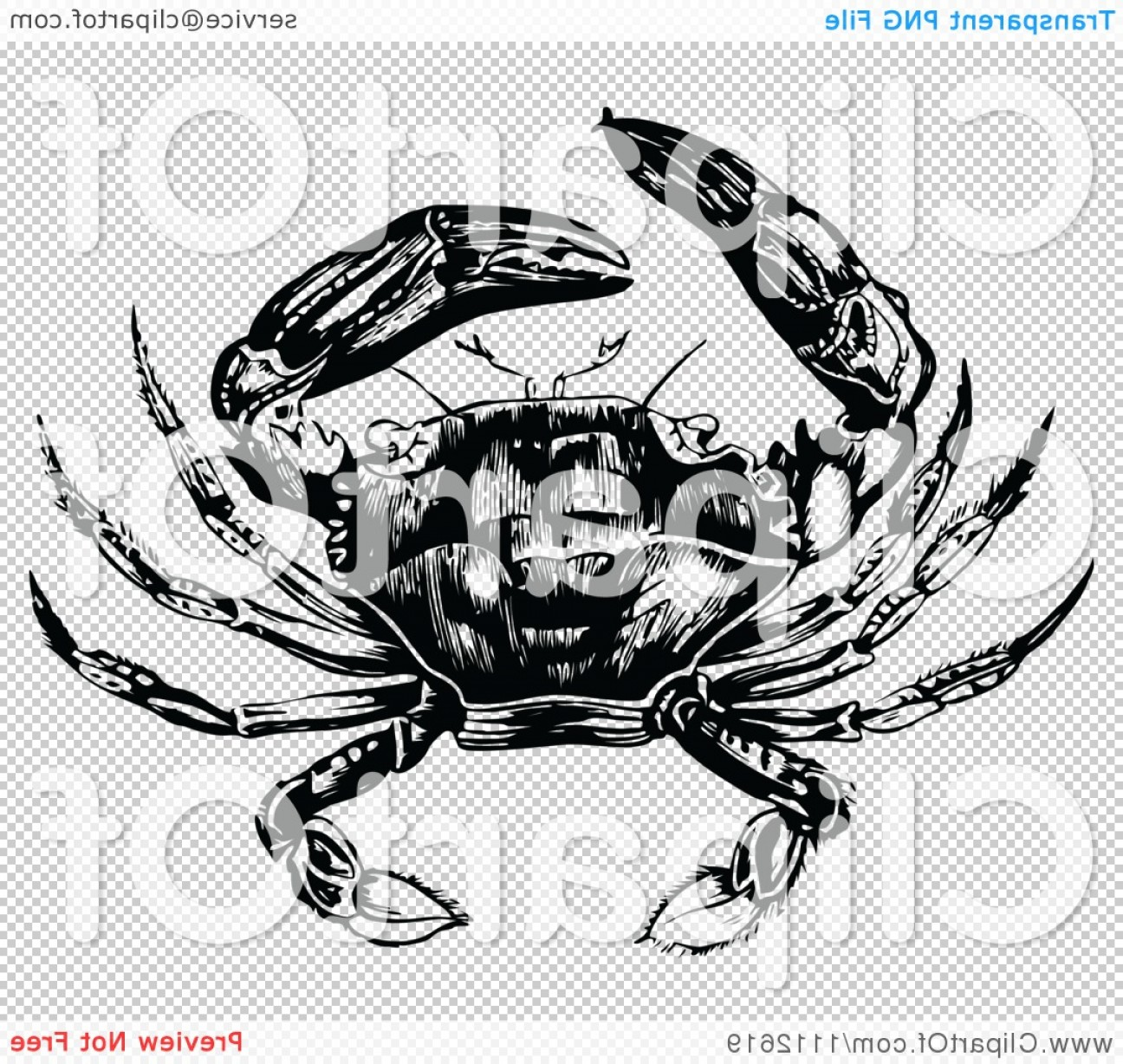 Crab Vector Black: Black And White Vintage Crab