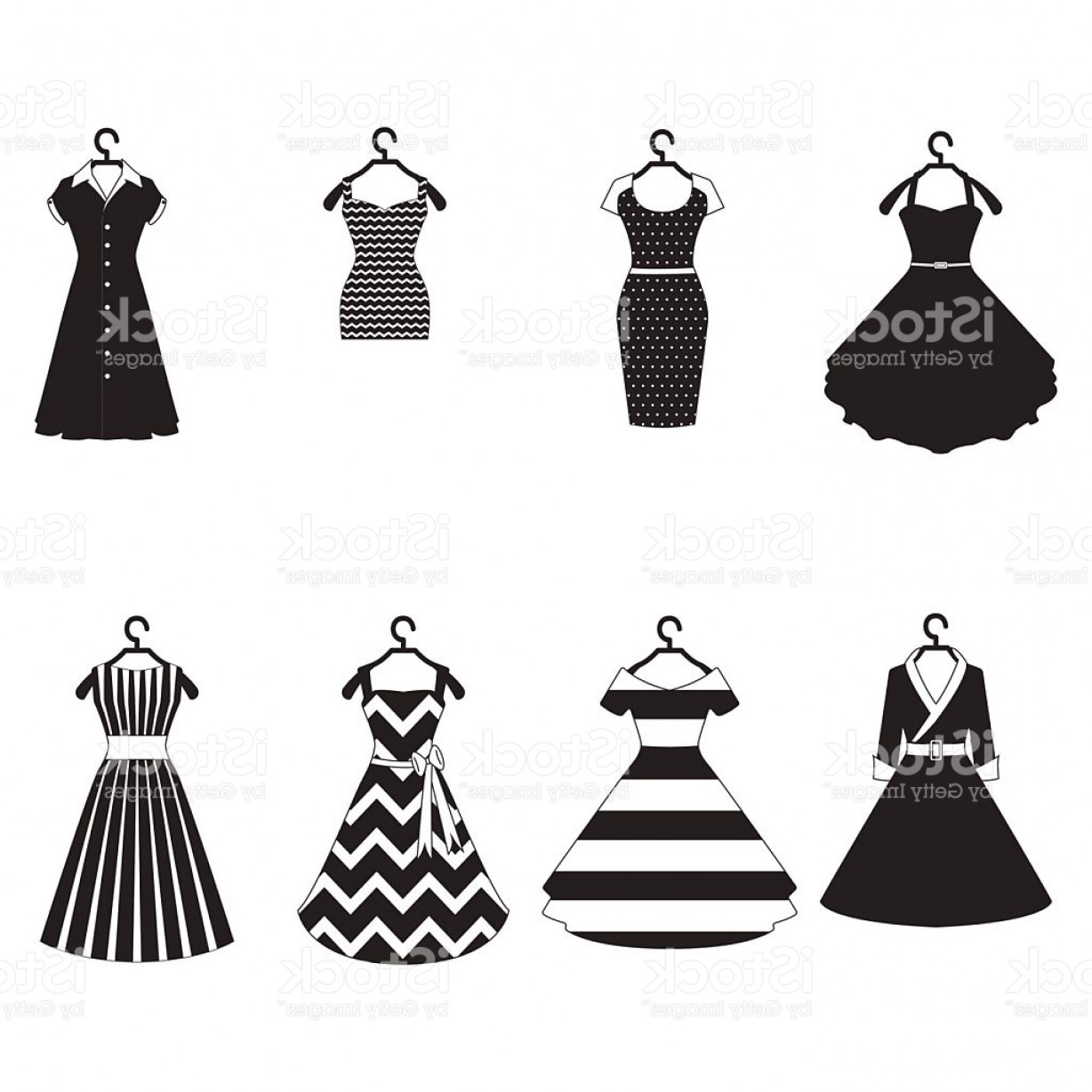 Vector Images Of Black And White Dresses: Black And White Vintage Dresses Vector Set Gm