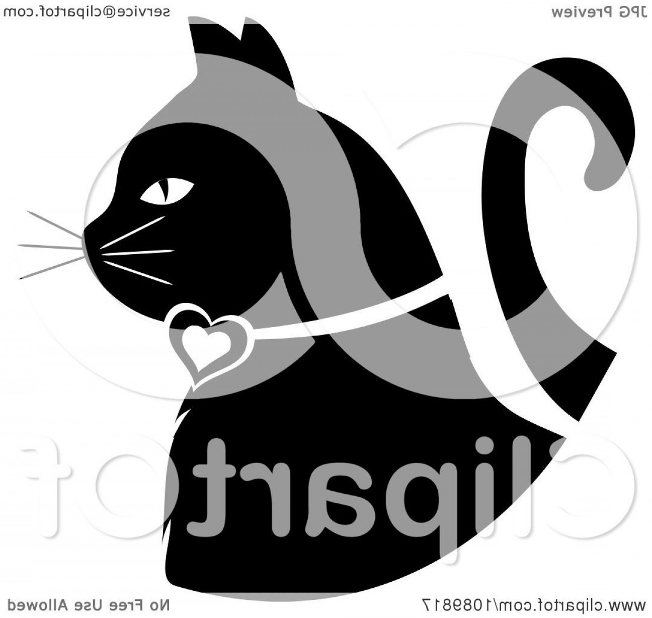 Malee Cat Head Silhouette Vector: Black And White White Profiled Cat