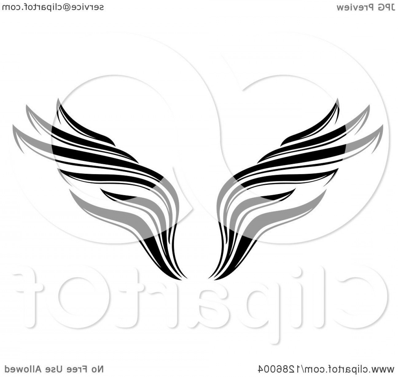 Vector Hi Res Black And White Wing: Black And White Wing Tattoo Design