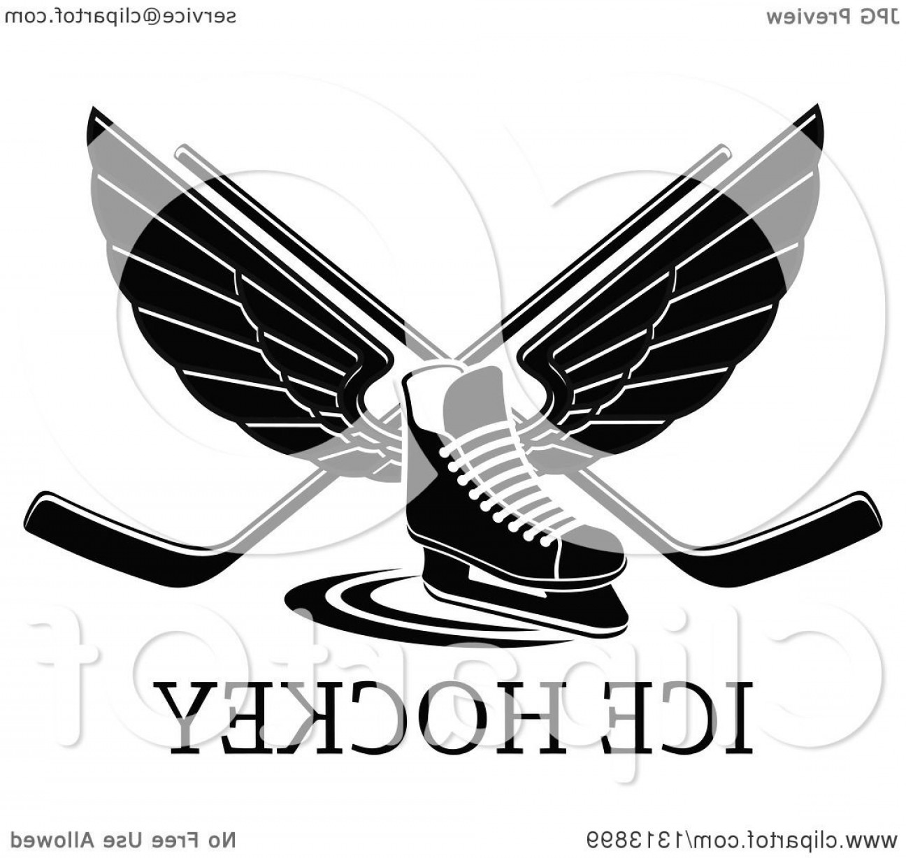 Hockey Skates Vector Art: Black And White Winged Ice Hockey Skate With Crossed Sticks Over Text
