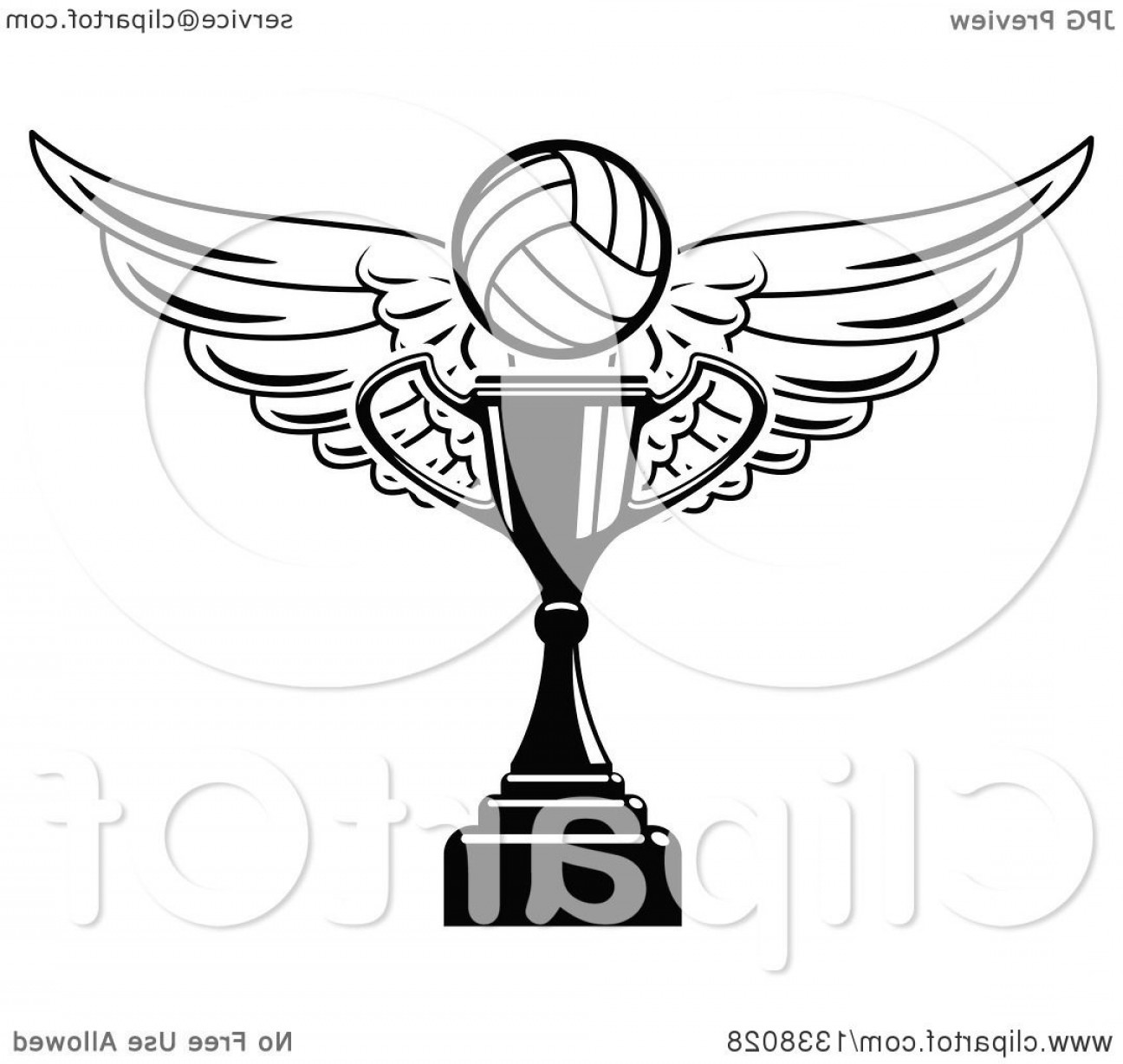 Vector Hi Res Black And White Wing: Black And White Winged Volleyball Over A Trophy Cup