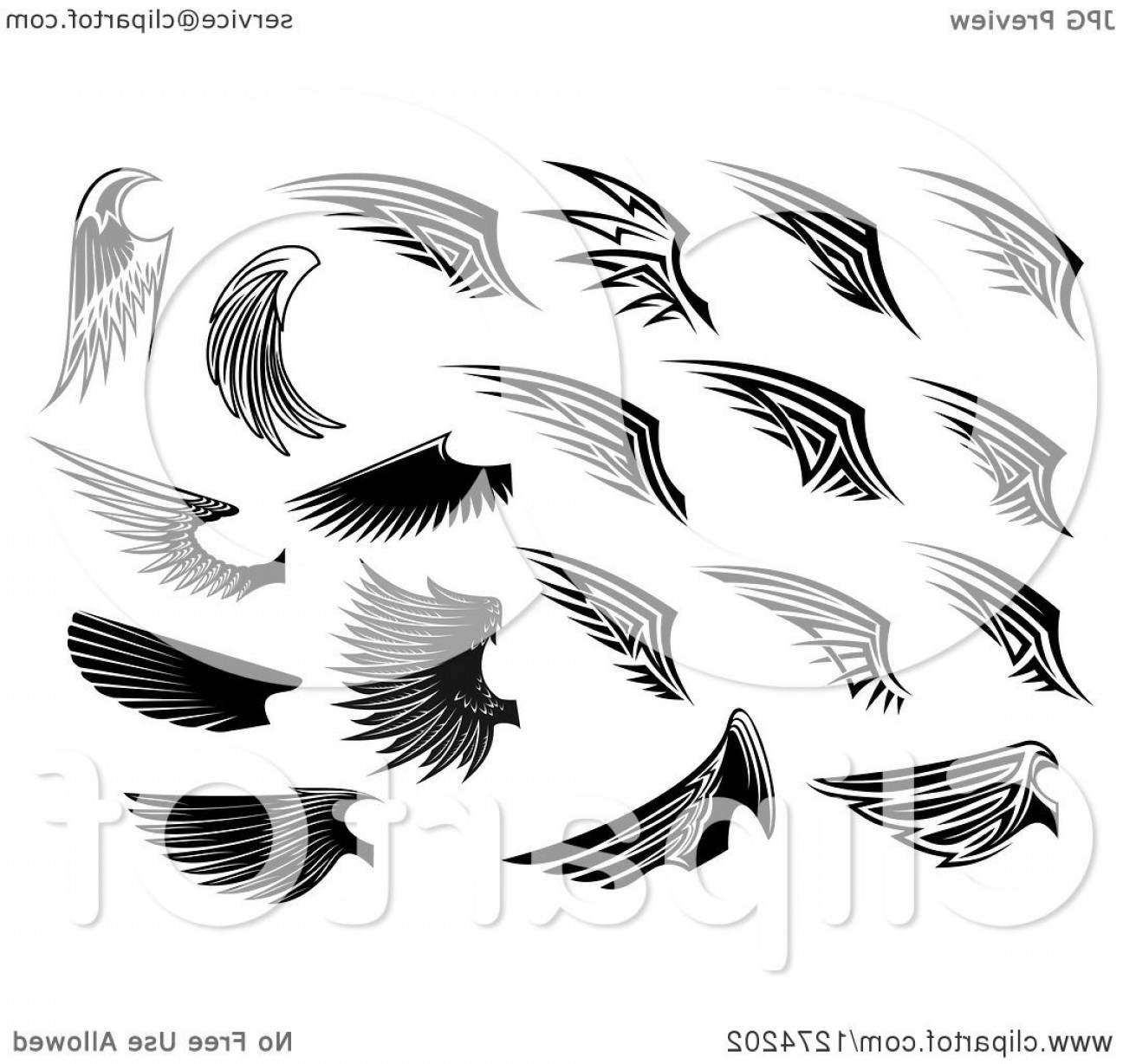 Vector Hi Res Black And White Wing: Black And White Wings In Different Styles