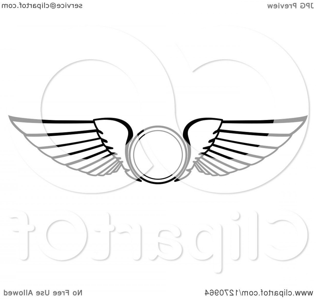 Vector Hi Res Black And White Wing: Black And White Wings With A Circle