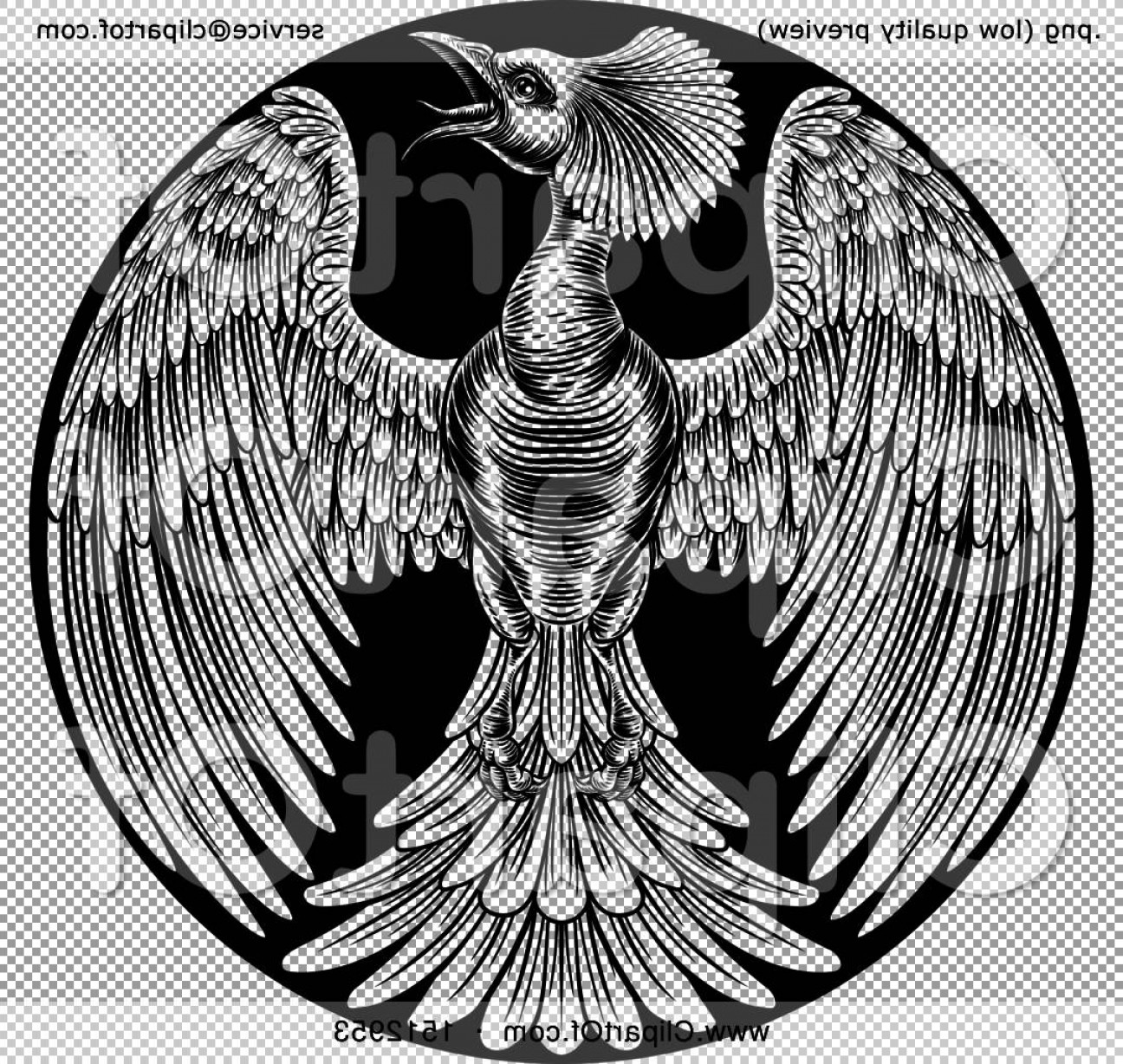 Firebird Vector Transparent Background: Black And White Woodcut Or Engraved Phoenix Firebird In A Circle