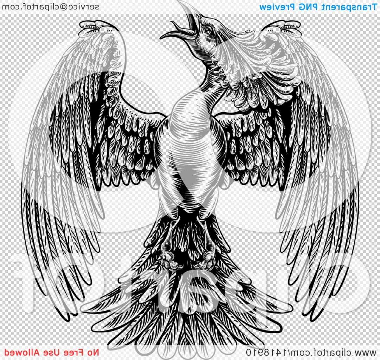 Firebird Vector Transparent Background: Black And White Woodcut Or Engraved Styled Phoenix Firebird