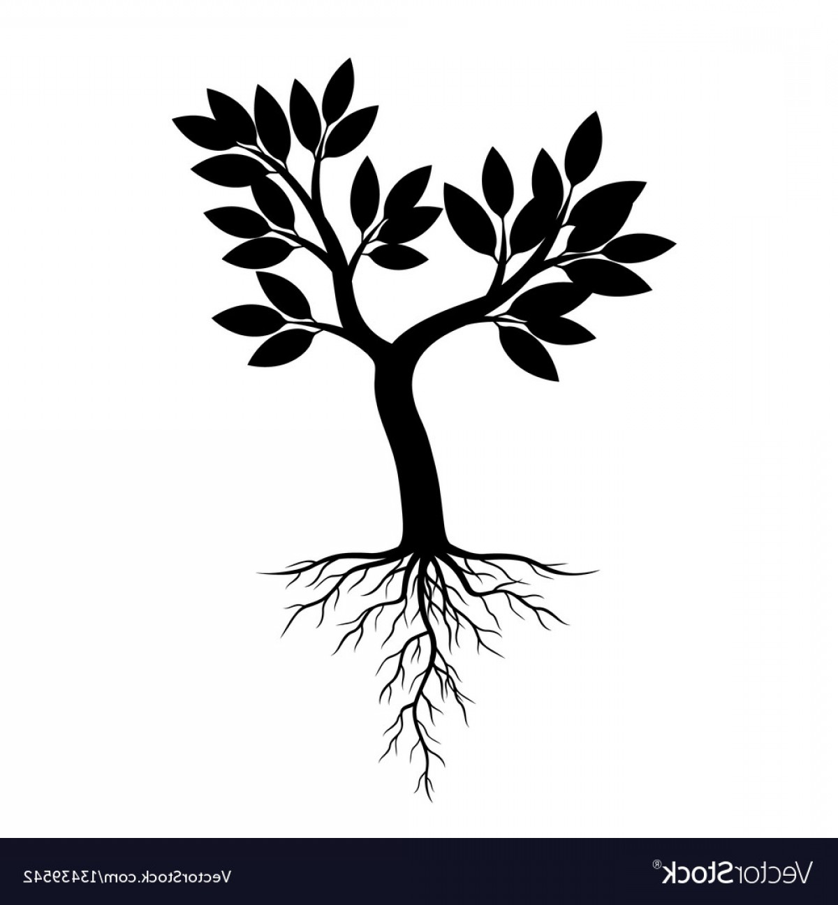 Apple Tree Vector Black: Black Apple Tree And Roots Vector
