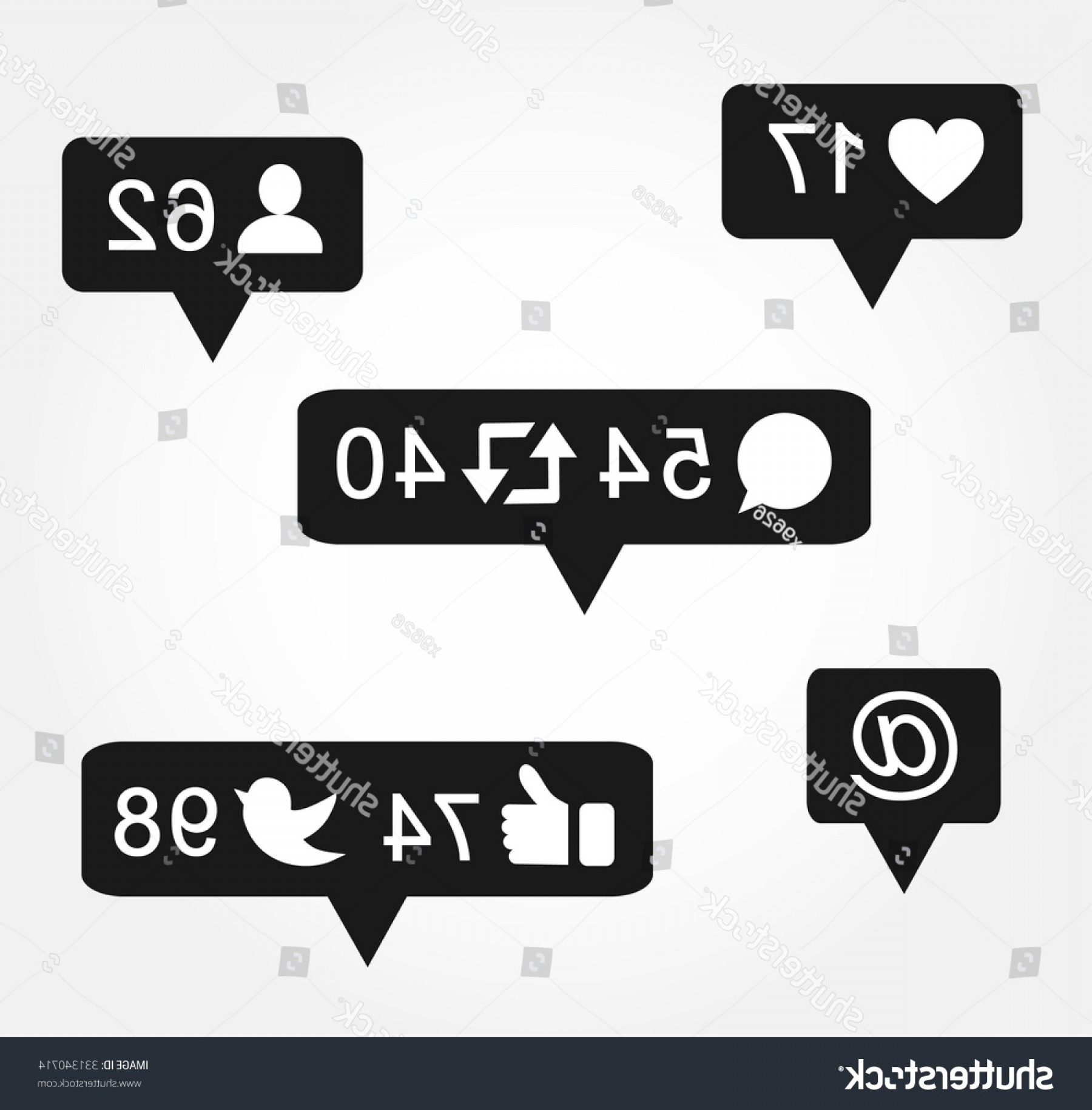 Black Facebook Logo Vector: Black Bubble Notification Icon Set Following